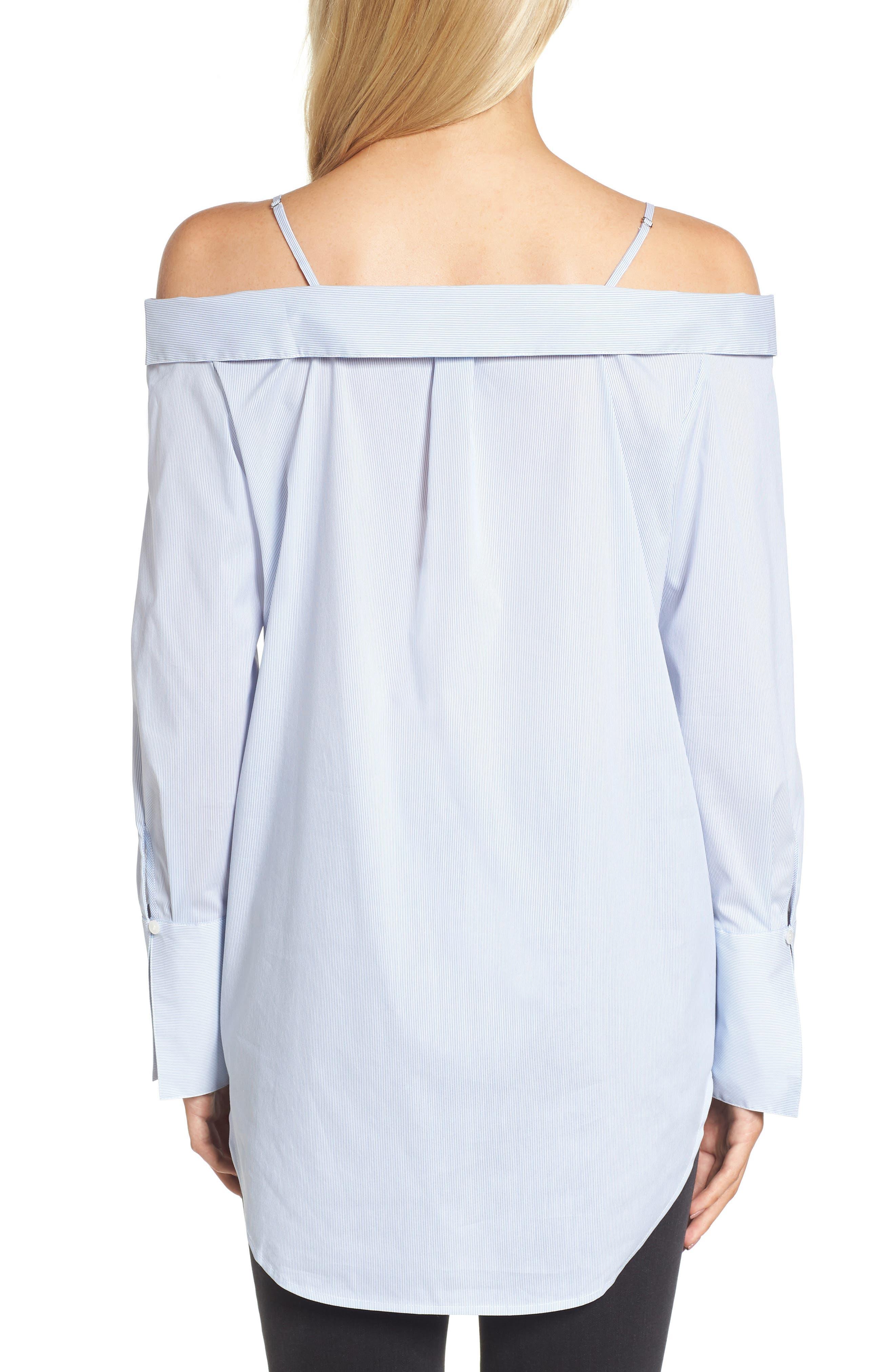 Off the Shoulder Stretch Poplin Shirt,                             Alternate thumbnail 2, color,                             Blue- White Mini Stripe