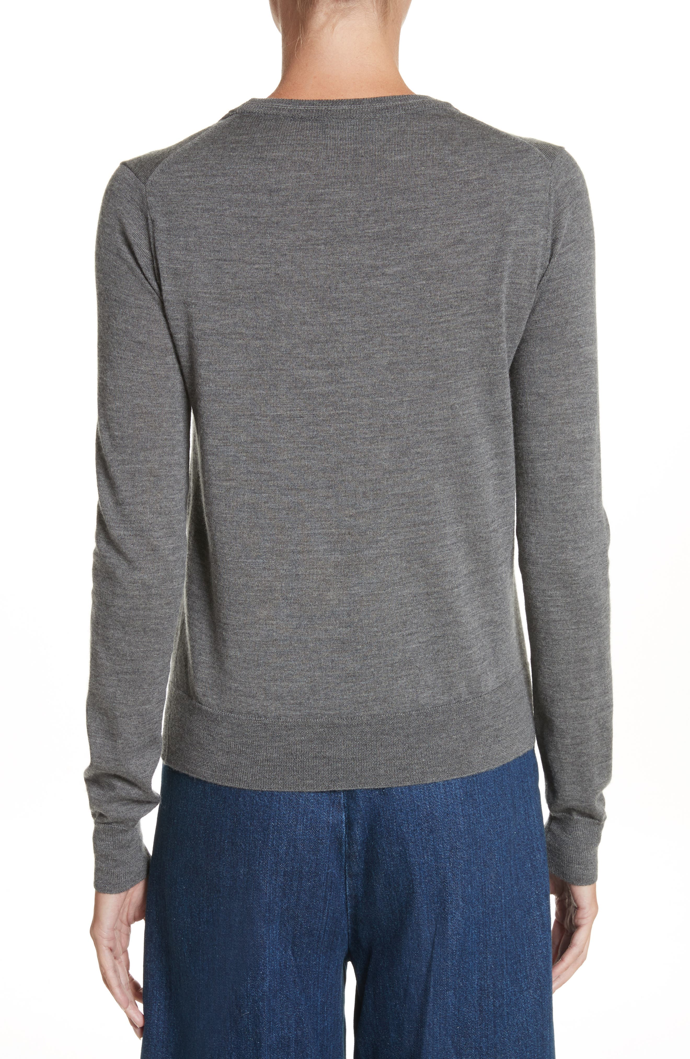 Ruffle Merino Wool Sweater,                             Alternate thumbnail 2, color,                             Dark Grey Melange