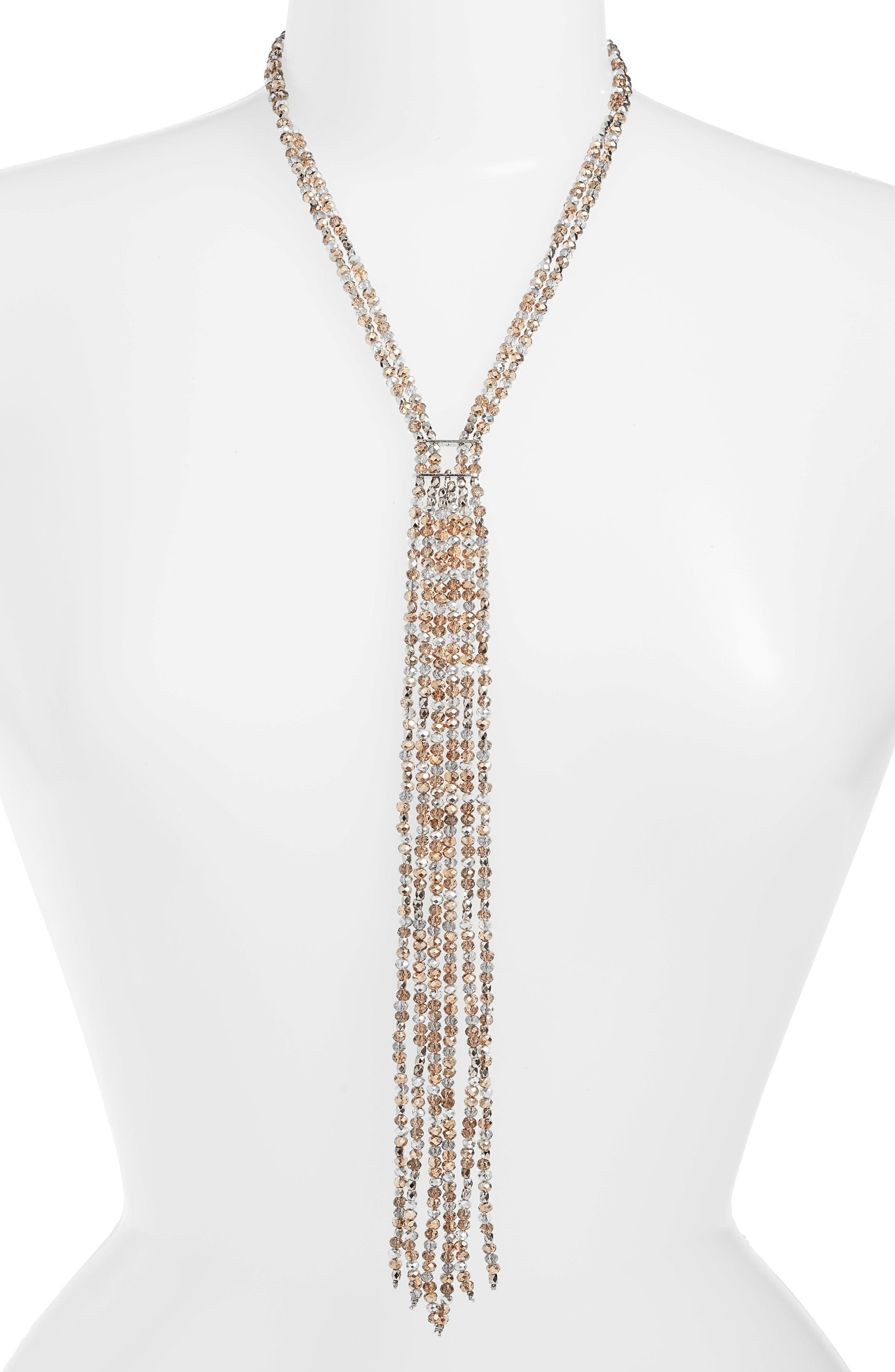 CRISTABELLE Crystal Bead Fringe Necklace