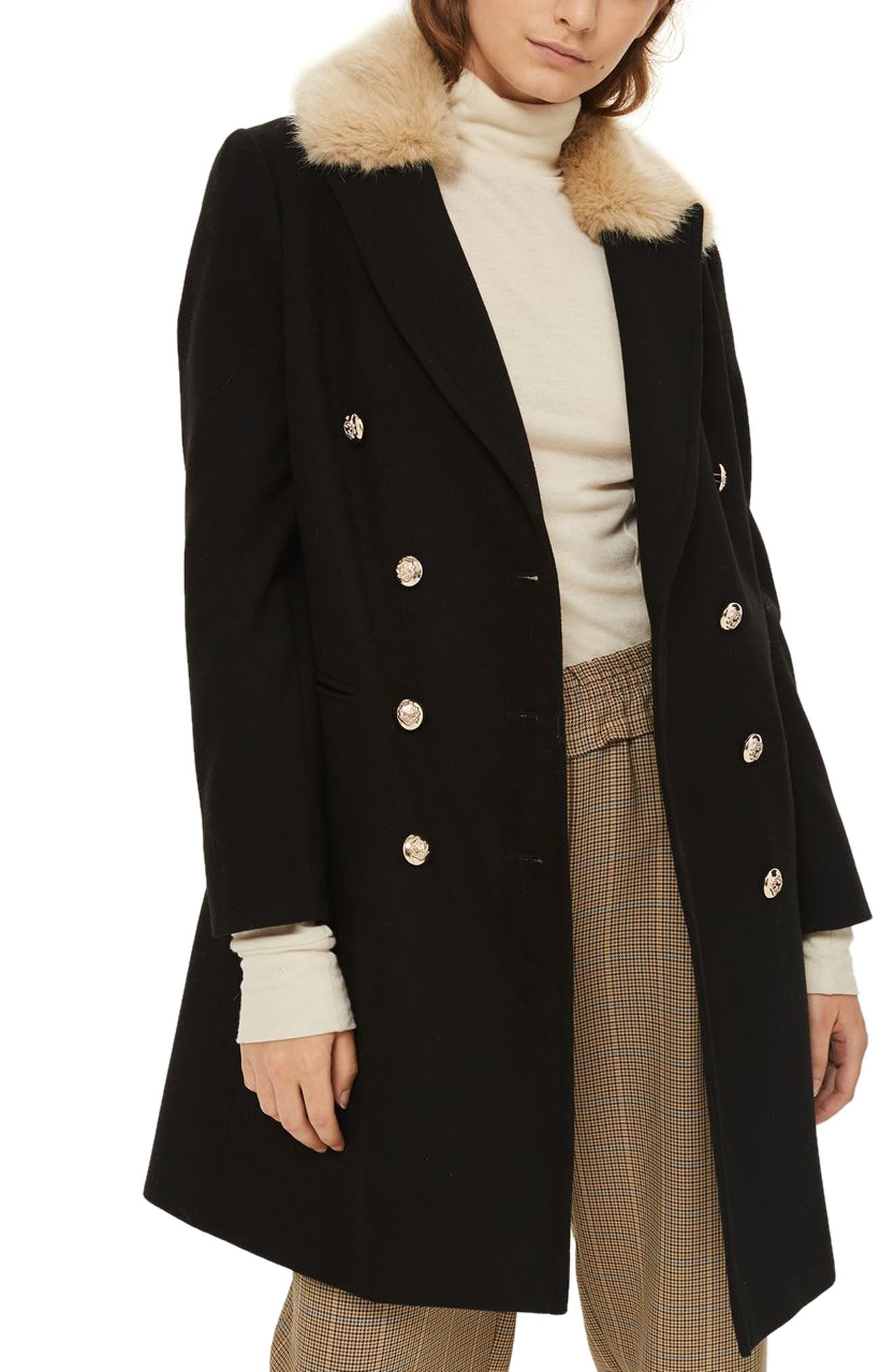 Topshop Nina Faux Fur Collar Double Breasted Coat