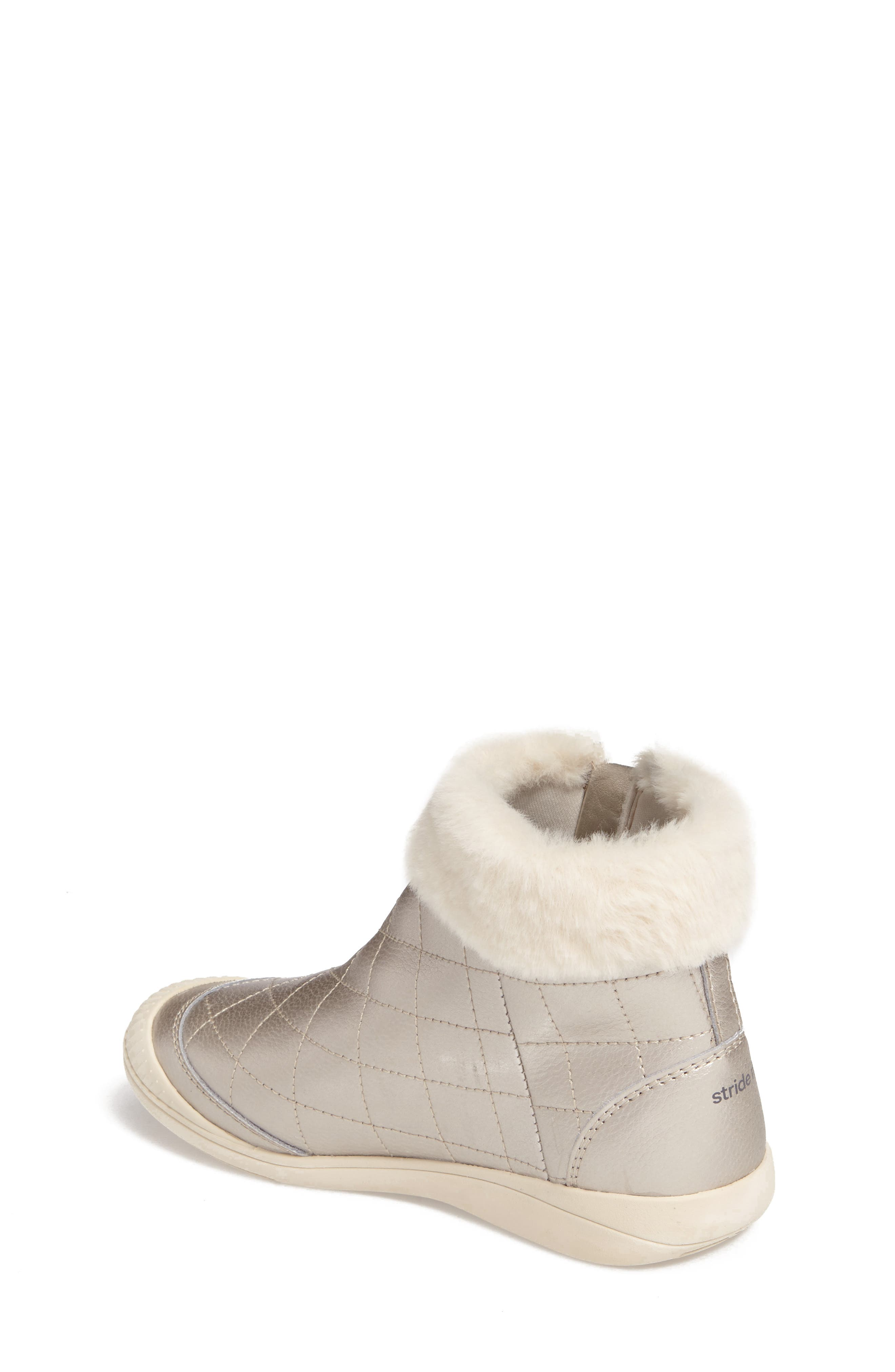 Alternate Image 2  - Stride Rite Chloe Faux Fur Quilted Bootie (Walker, Toddler & Little Kid)
