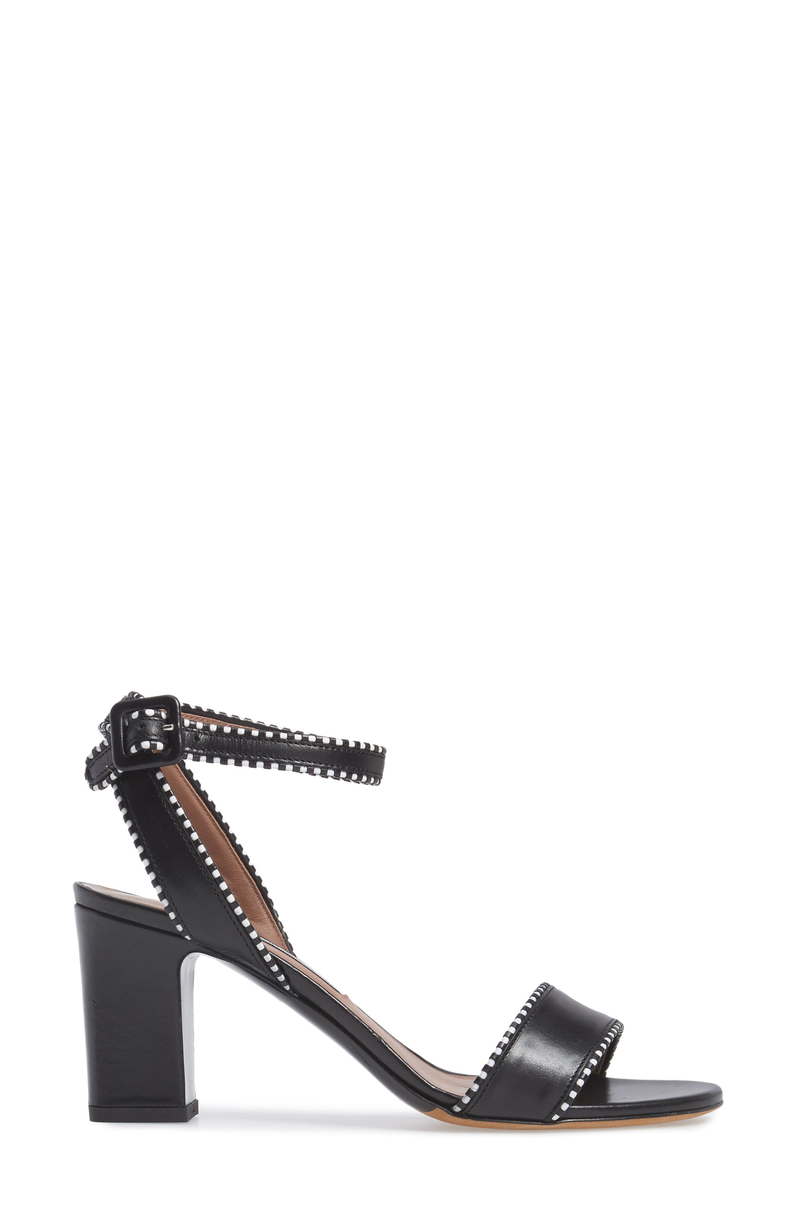 Leticia Profilo Ankle Strap Sandal,                             Alternate thumbnail 3, color,                             Black