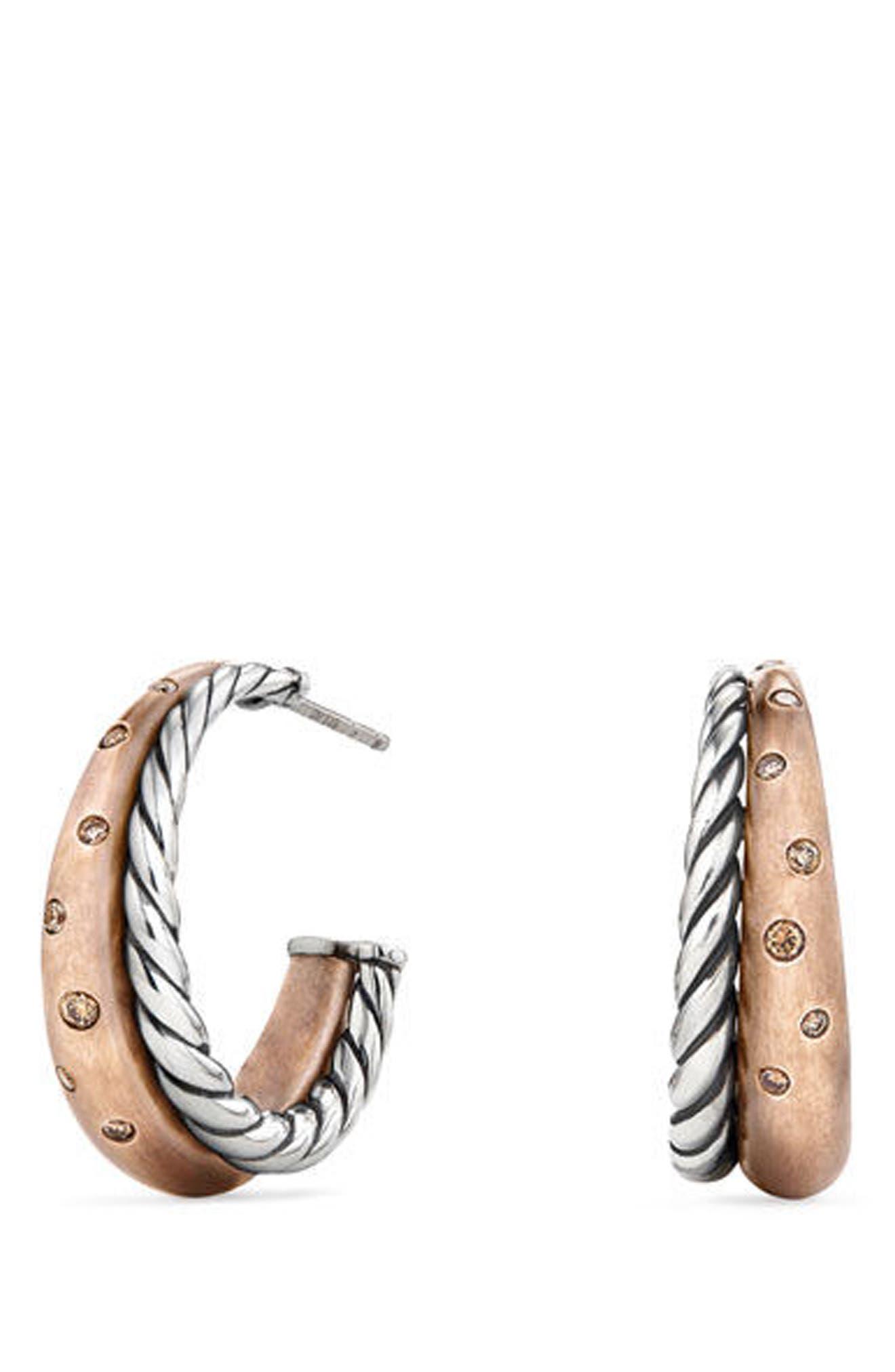 Alternate Image 1 Selected - David Yurman Pure Form Mixed Metal Hoop Earrings with Diamonds, Bronze & Silver, 26.5mm