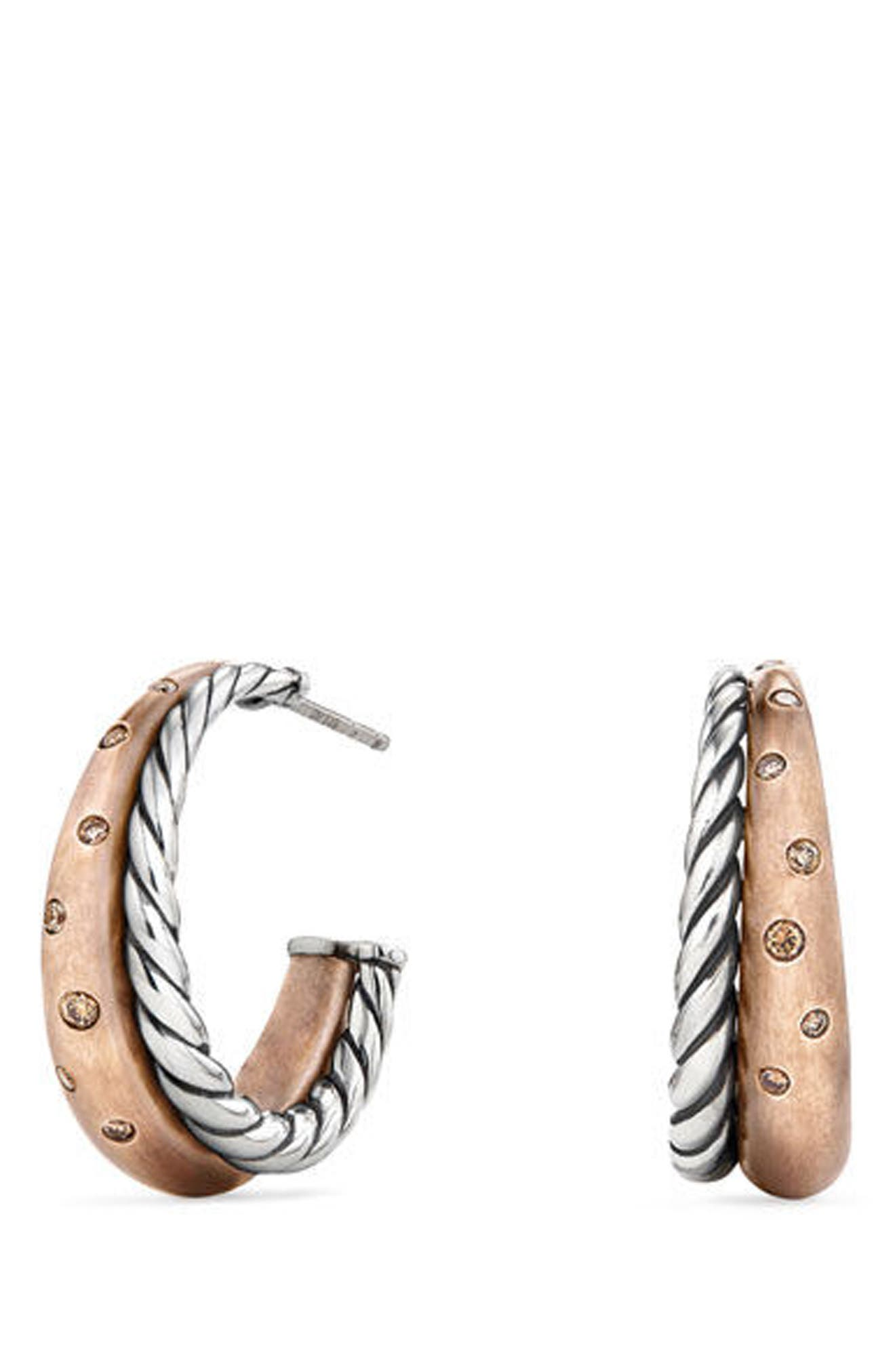 David Yurman Pure Form Mixed Metal Hoop Earrings with Diamonds, Bronze & Silver, 26.5mm