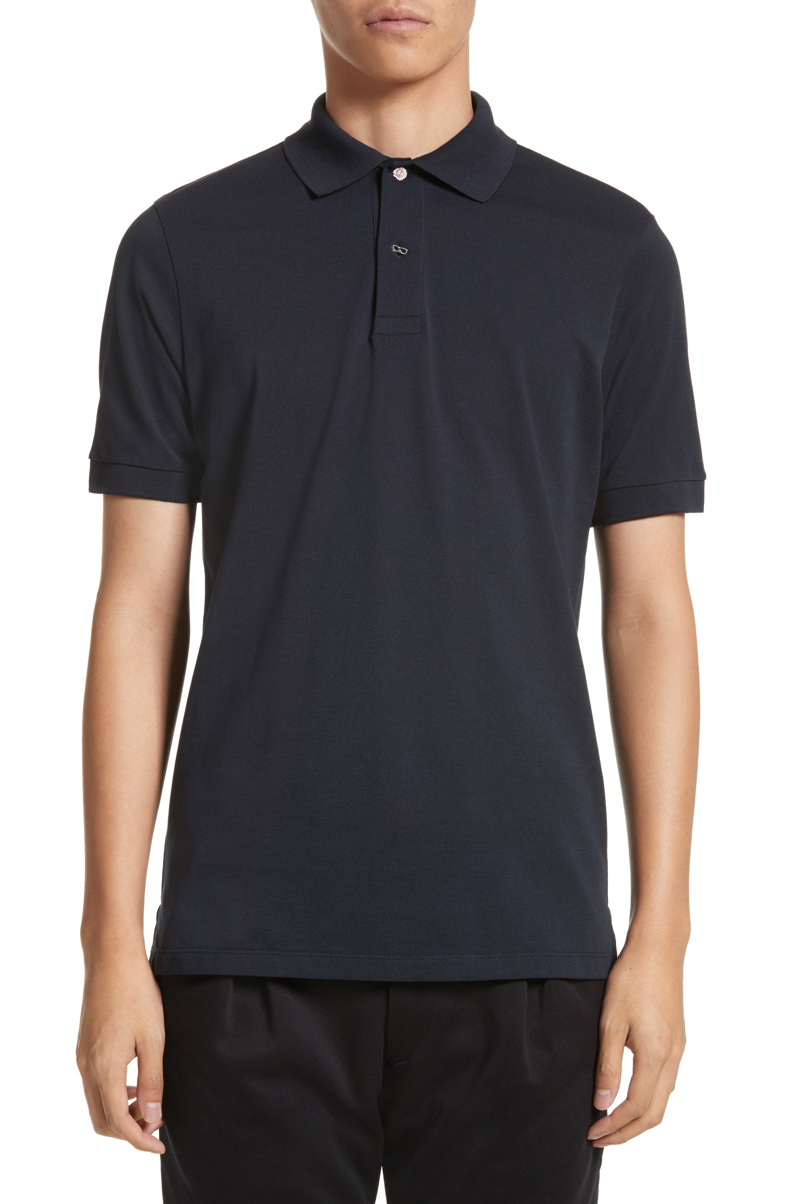 Piqué Polo with Character Buttons,                         Main,                         color, Navy