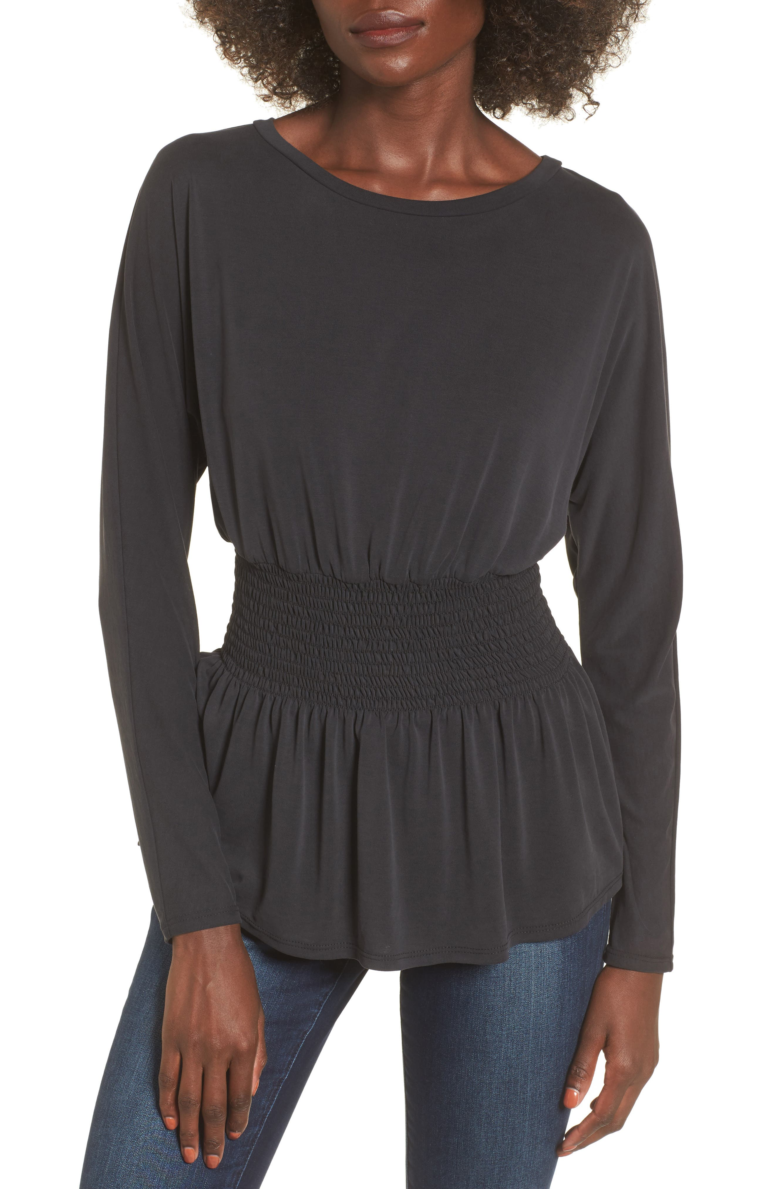 Cupro Smocked Waist Top,                         Main,                         color, Charcoal