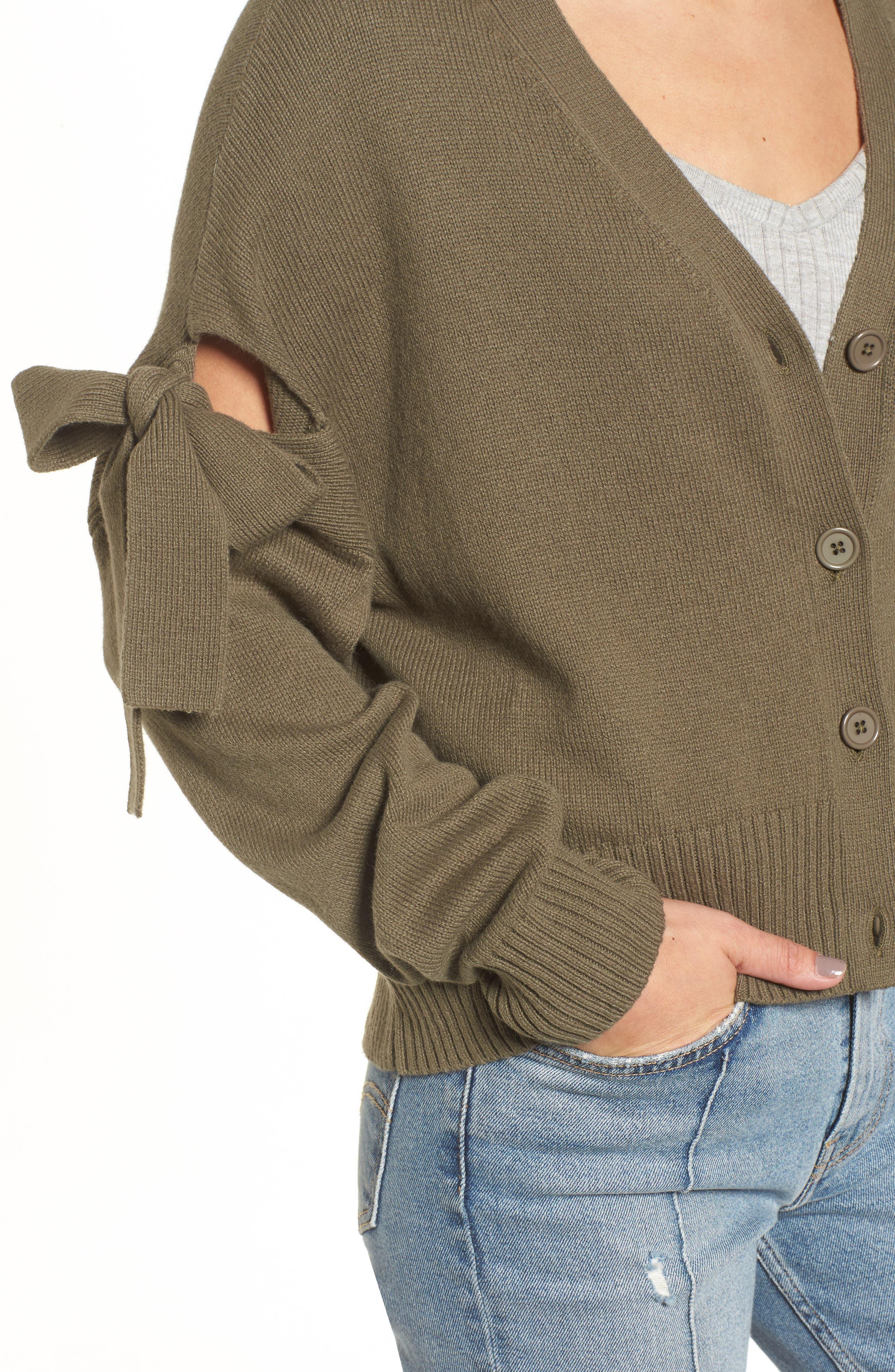 Bow Sleeve Cardigan,                             Alternate thumbnail 4, color,                             Olive Grove