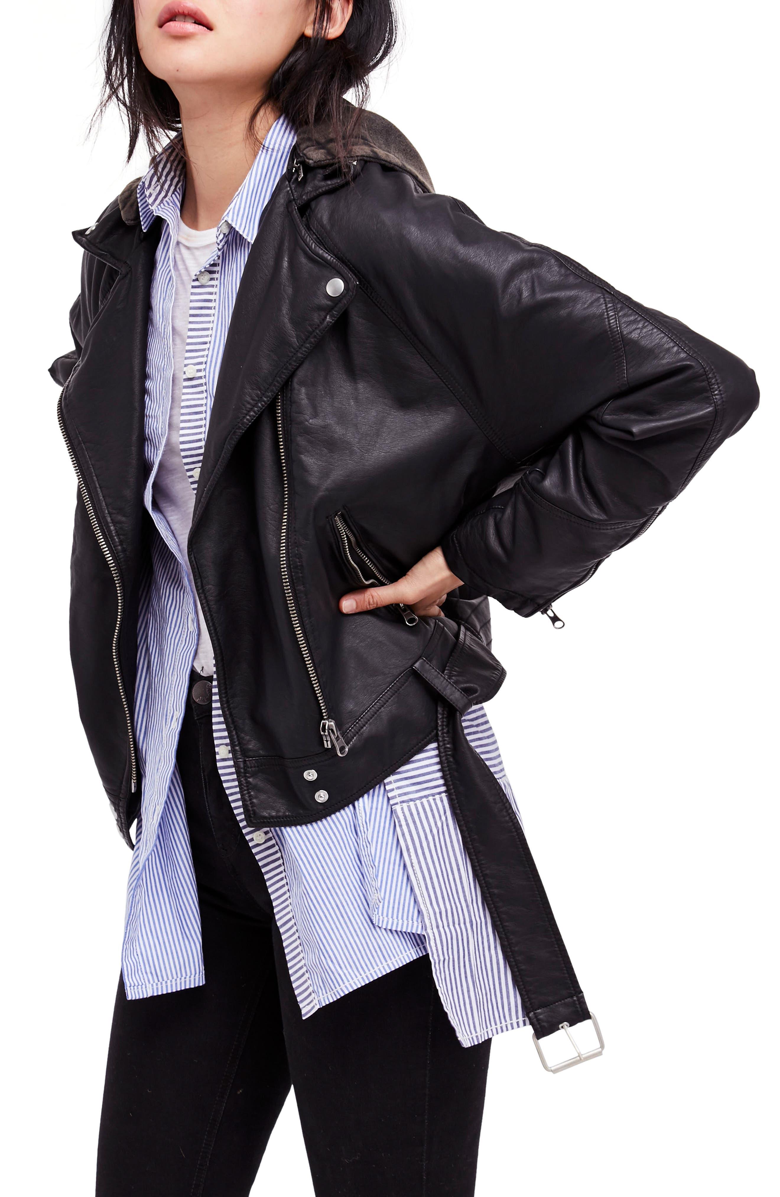 Drapey Faux Leather Moto Jacket,                             Main thumbnail 1, color,                             Black