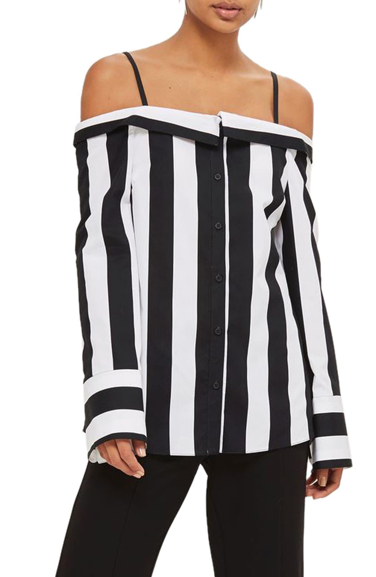 Humbug Stripe Off the Shoulder Shirt,                             Main thumbnail 1, color,                             Black Multi