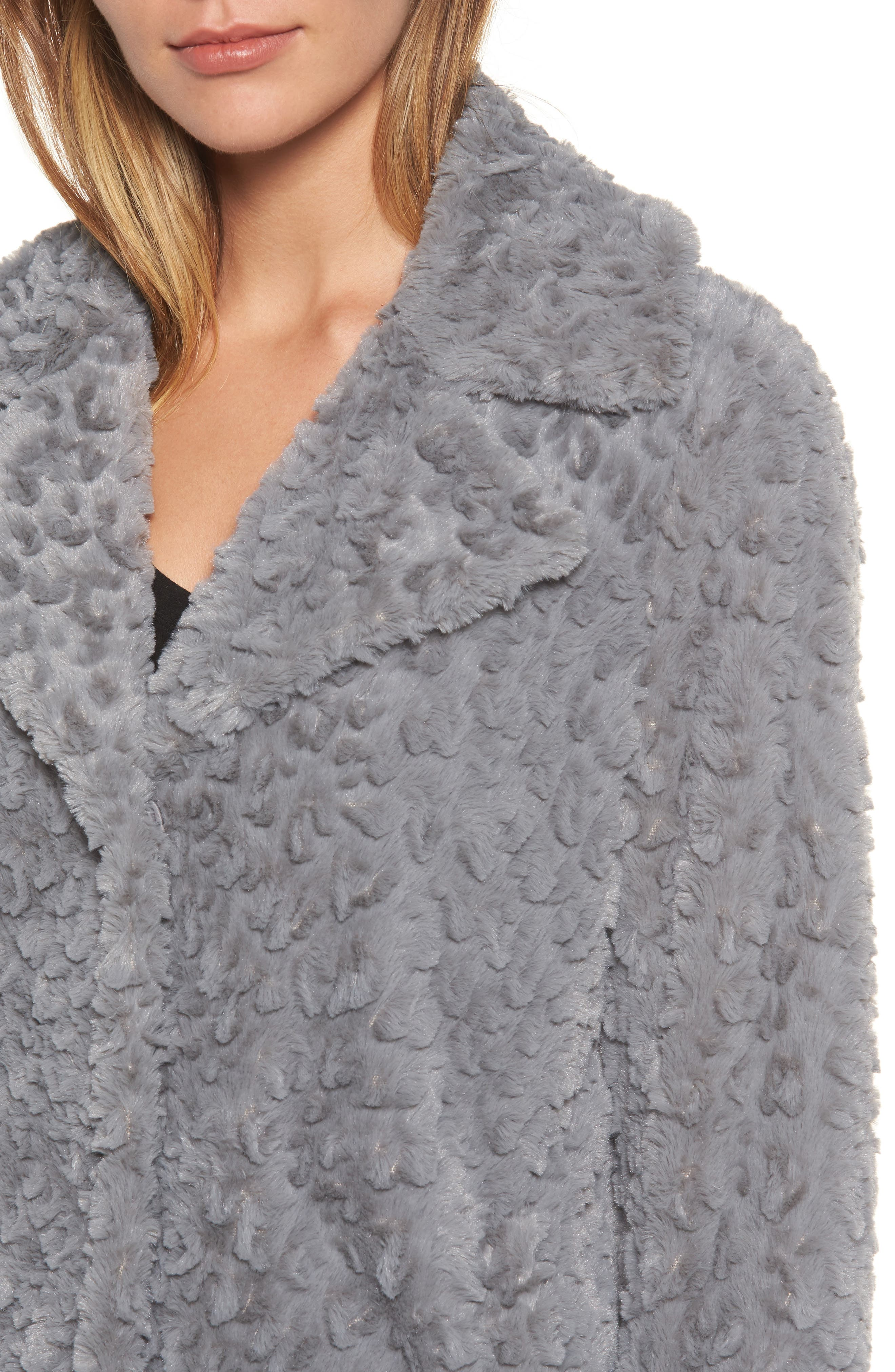 Faux Fur Coat,                             Alternate thumbnail 4, color,                             Grey