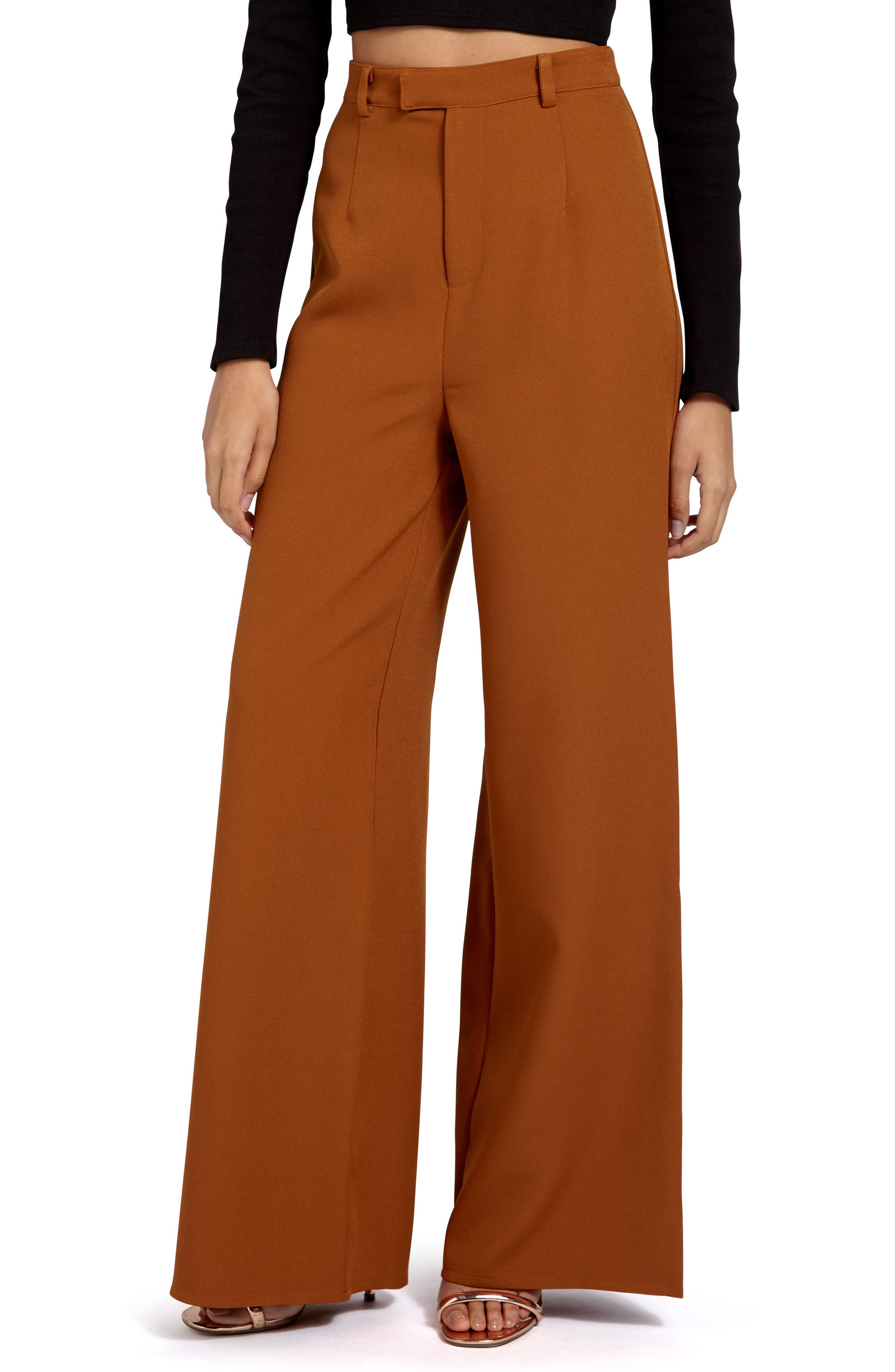 Crepe Wide Leg Trousers,                         Main,                         color, Rust