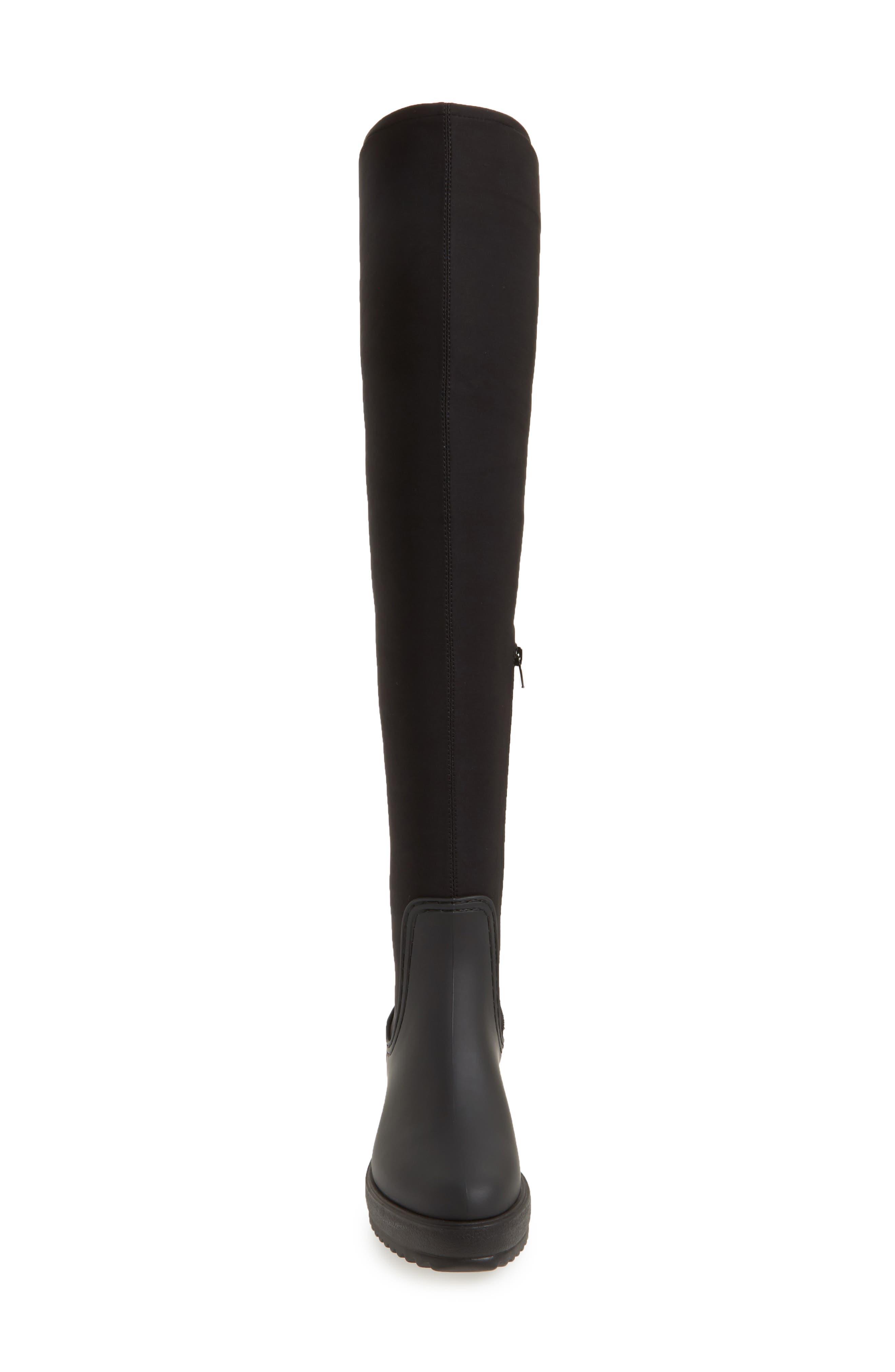 Monsoon Over the Knee Platform Rain Boot,                             Alternate thumbnail 4, color,                             Black Black Neoprene