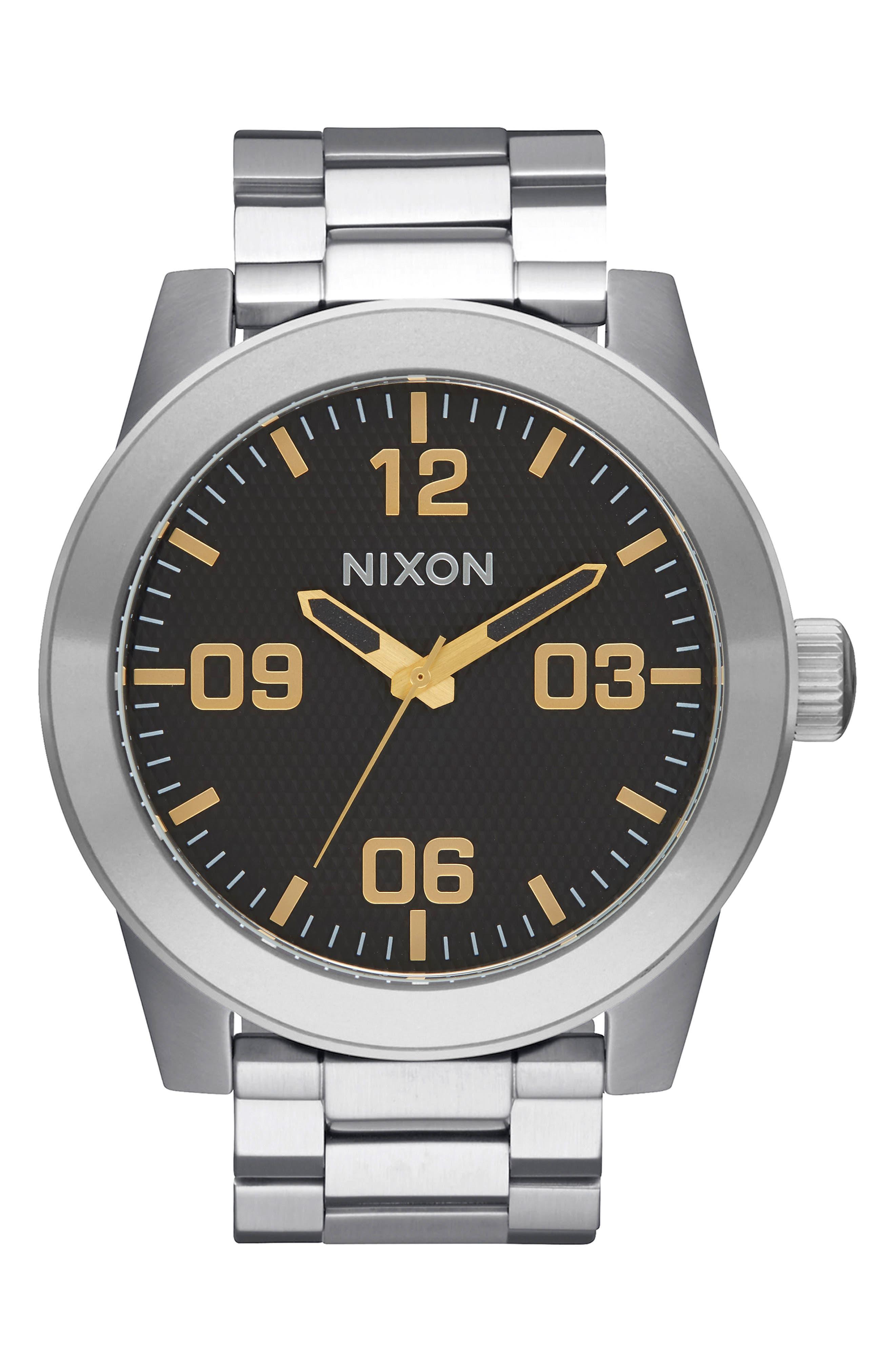 Corporal Bracelet Watch, 48mm,                             Main thumbnail 1, color,                             Silver/ Black/ Silver