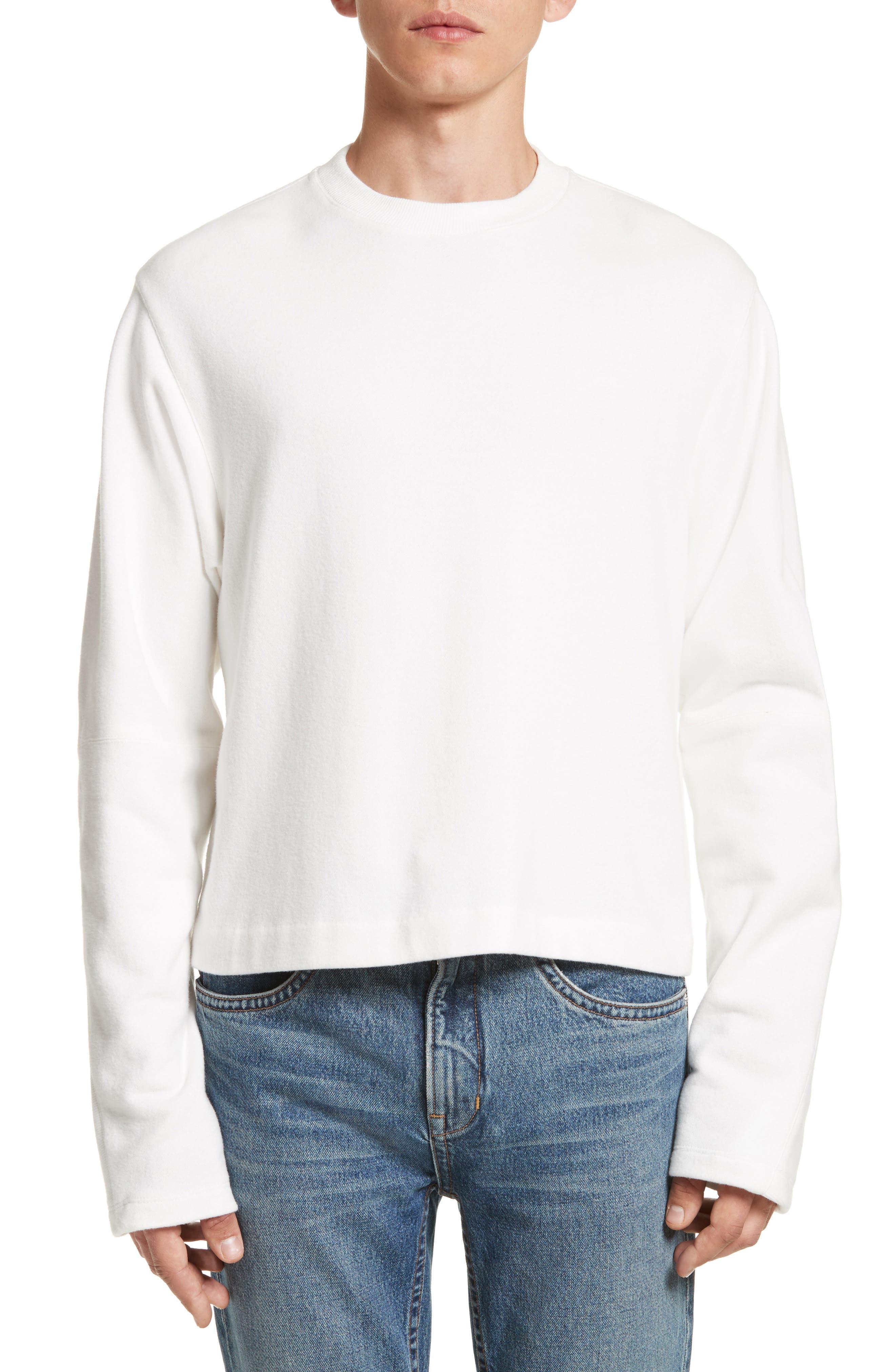 Rib Detail Crewneck Sweater,                         Main,                         color, Whiite