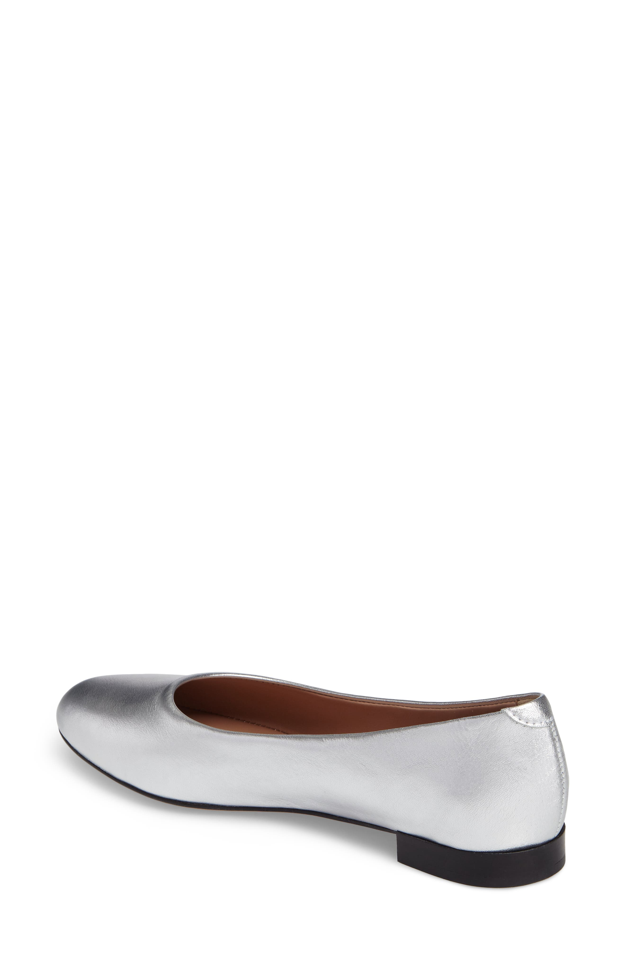 Gemma Ballerina Flat,                             Alternate thumbnail 2, color,                             Silver Leather