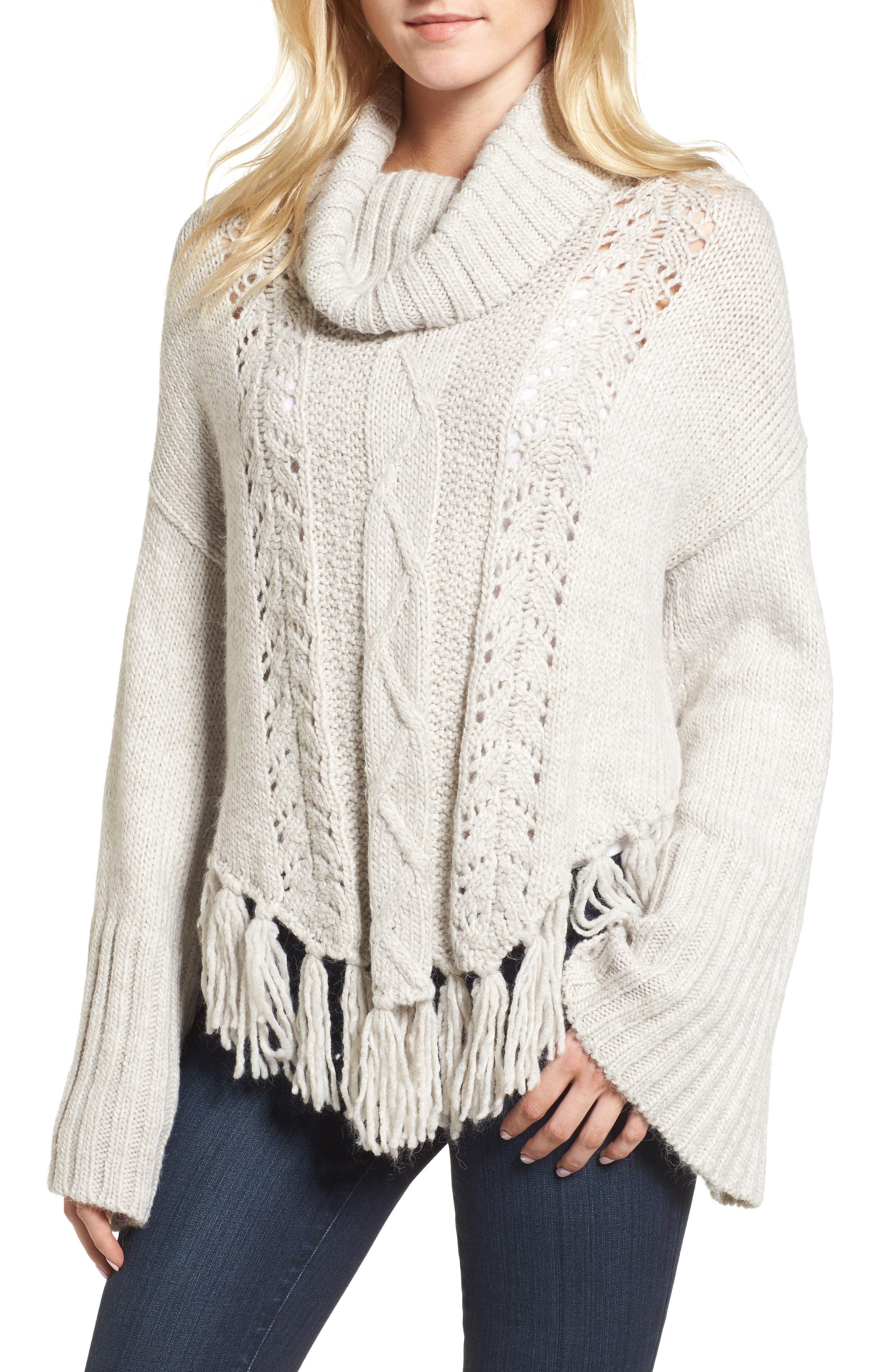 Prilla Fringe Cowl Neck Sweater,                             Main thumbnail 1, color,                             Latte