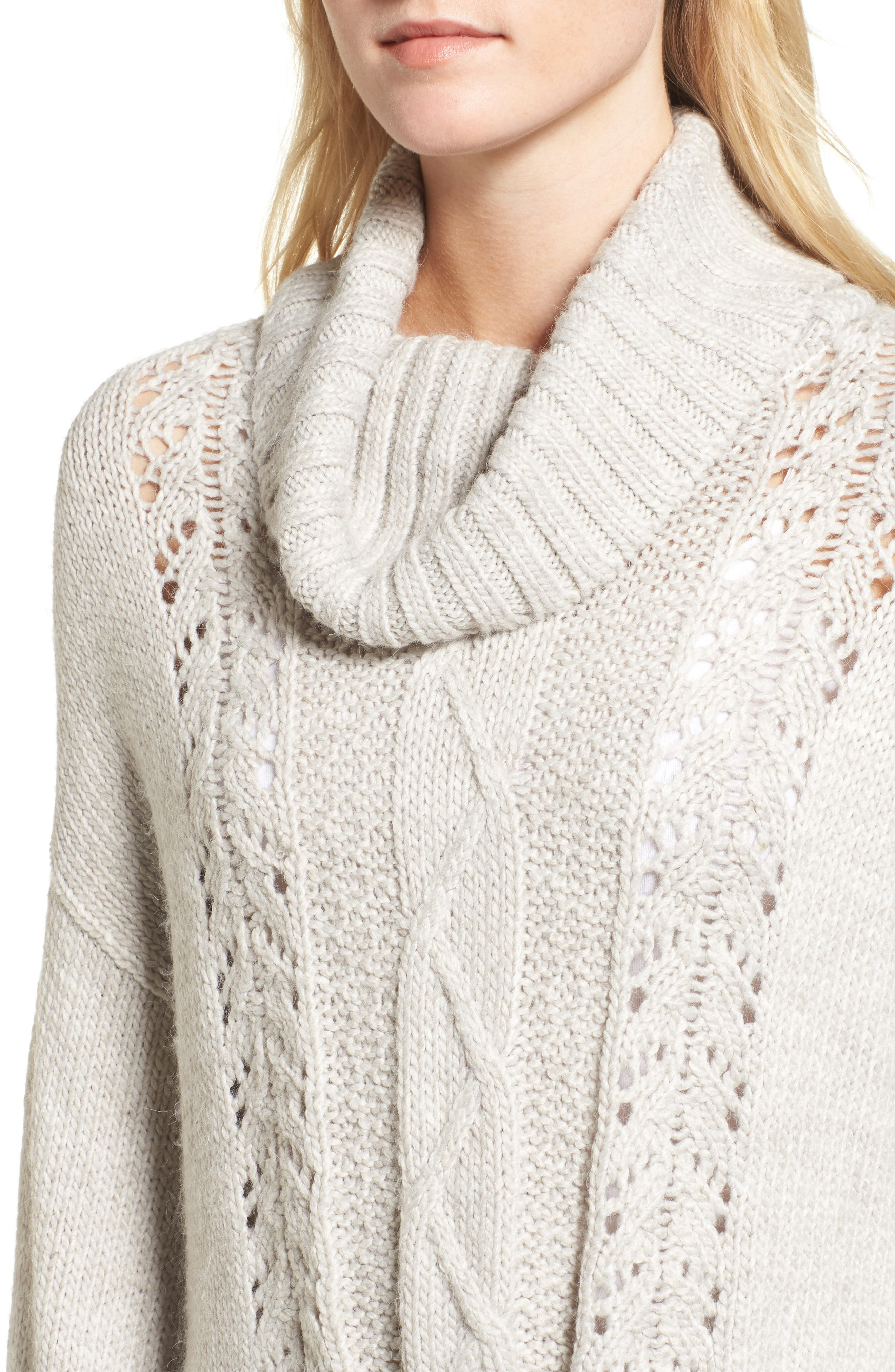 Prilla Fringe Cowl Neck Sweater,                             Alternate thumbnail 4, color,                             Latte