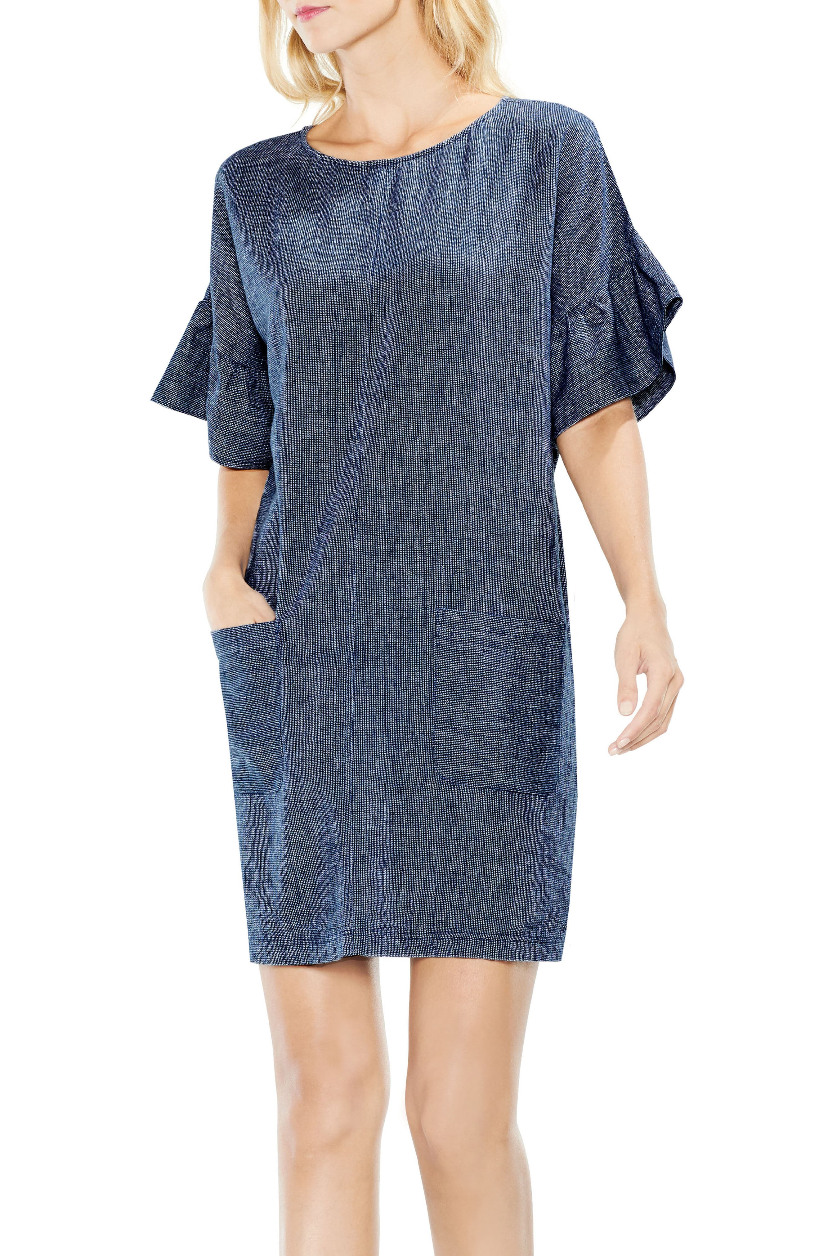 Two by Vince Camuto Ruffle Sleeve Drop Shoulder Shift Dress