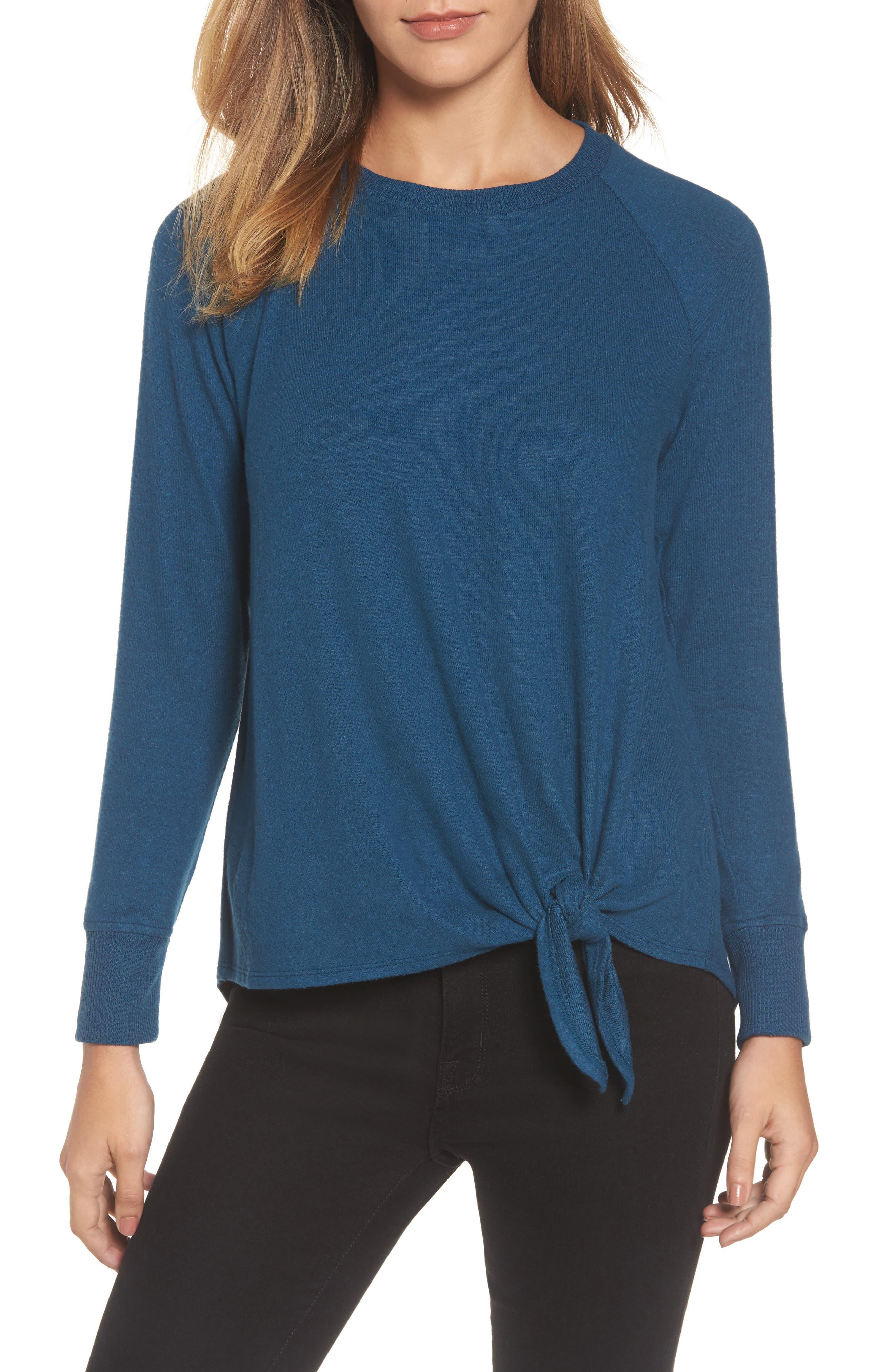 Tie Front Cozy Fleece Pullover,                         Main,                         color, Blue Ceramic