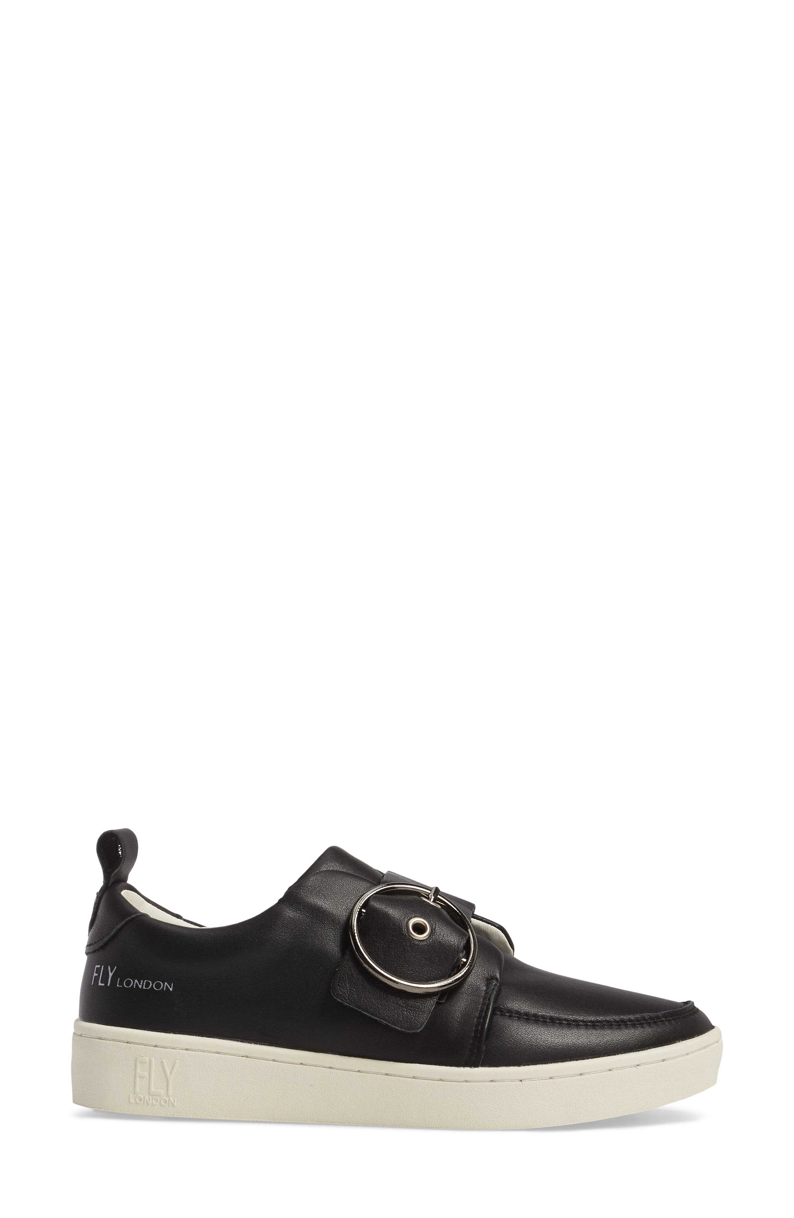 Mice Buckle Sneaker,                             Alternate thumbnail 3, color,                             Black Leather