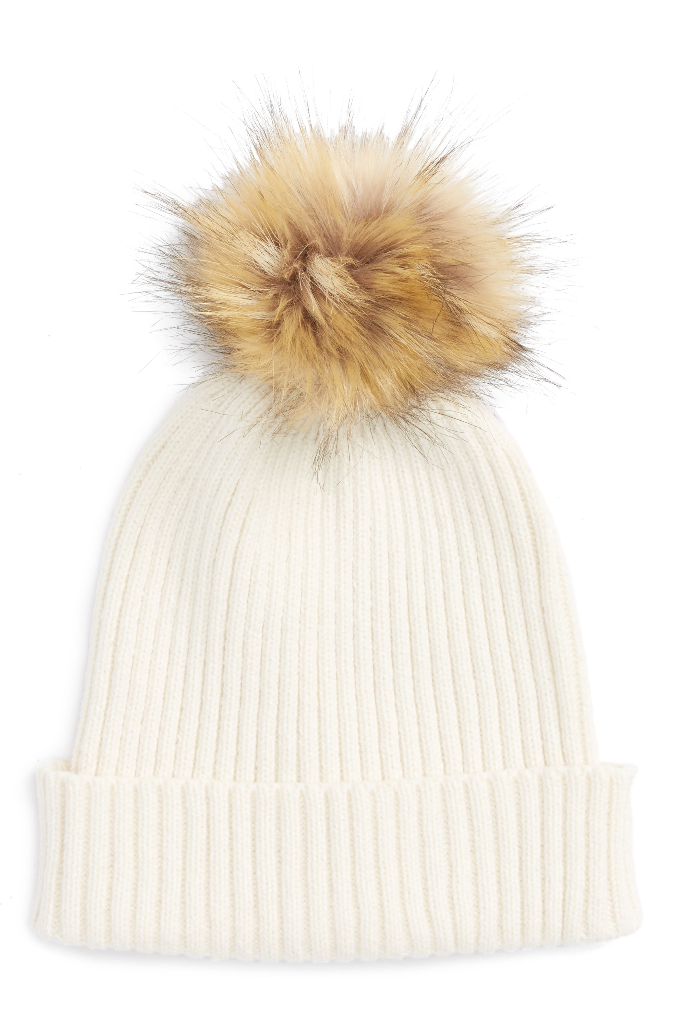 Capelli of New York Faux Fur Pom Knit Beanie