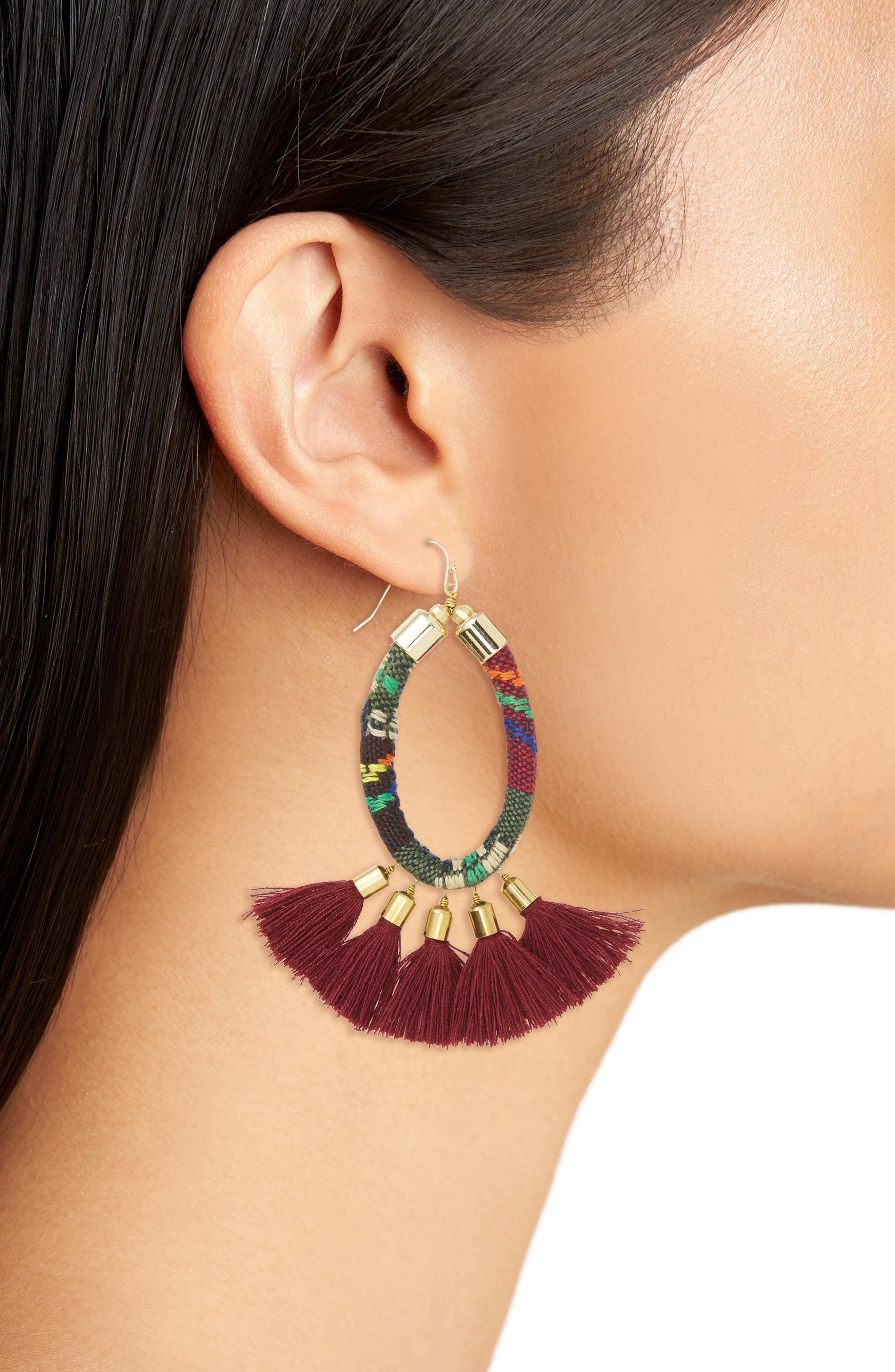 Tassel Earrings,                             Alternate thumbnail 2, color,                             Burgundy