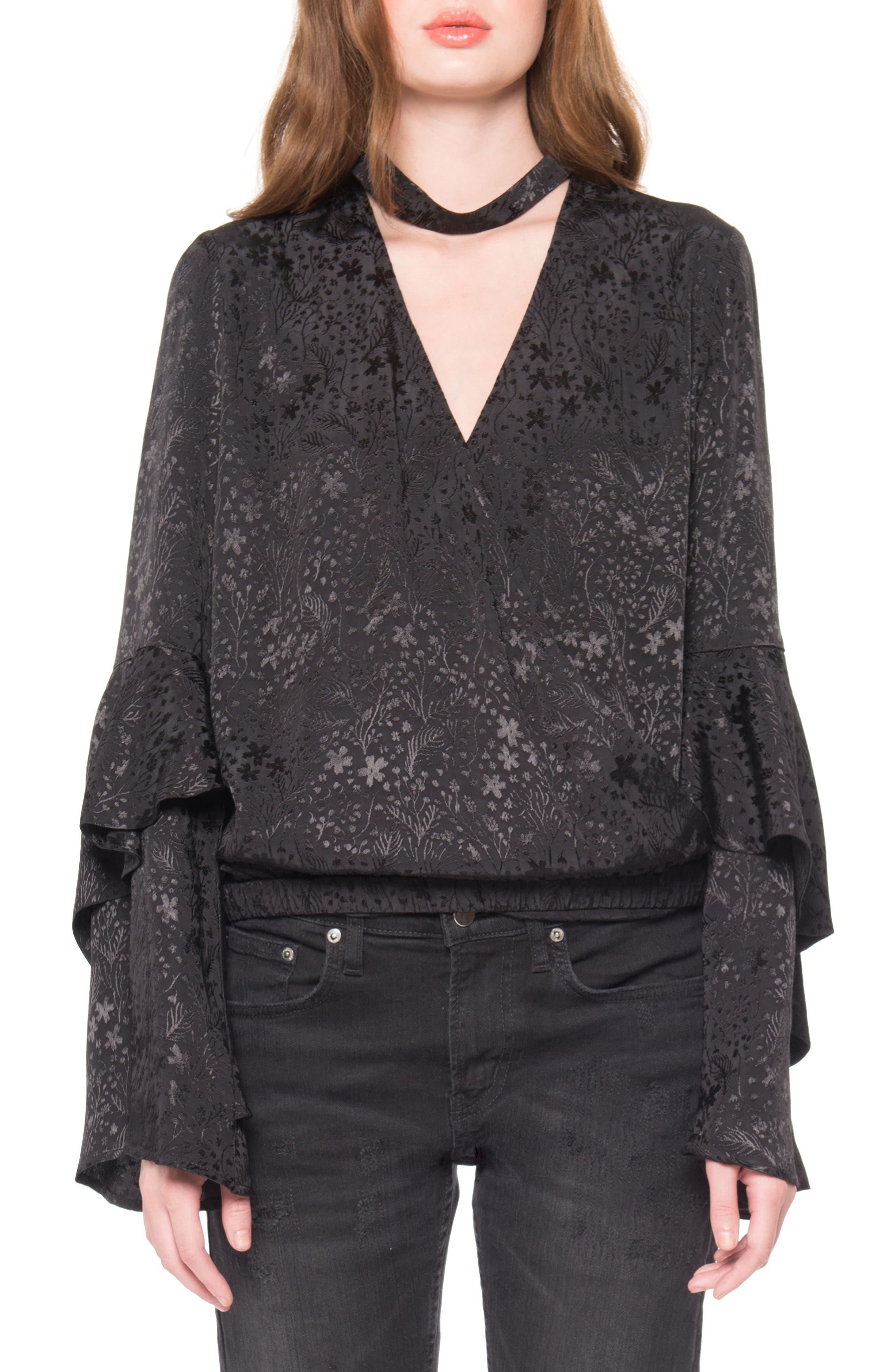 Jacquard Choker Top,                         Main,                         color, Black