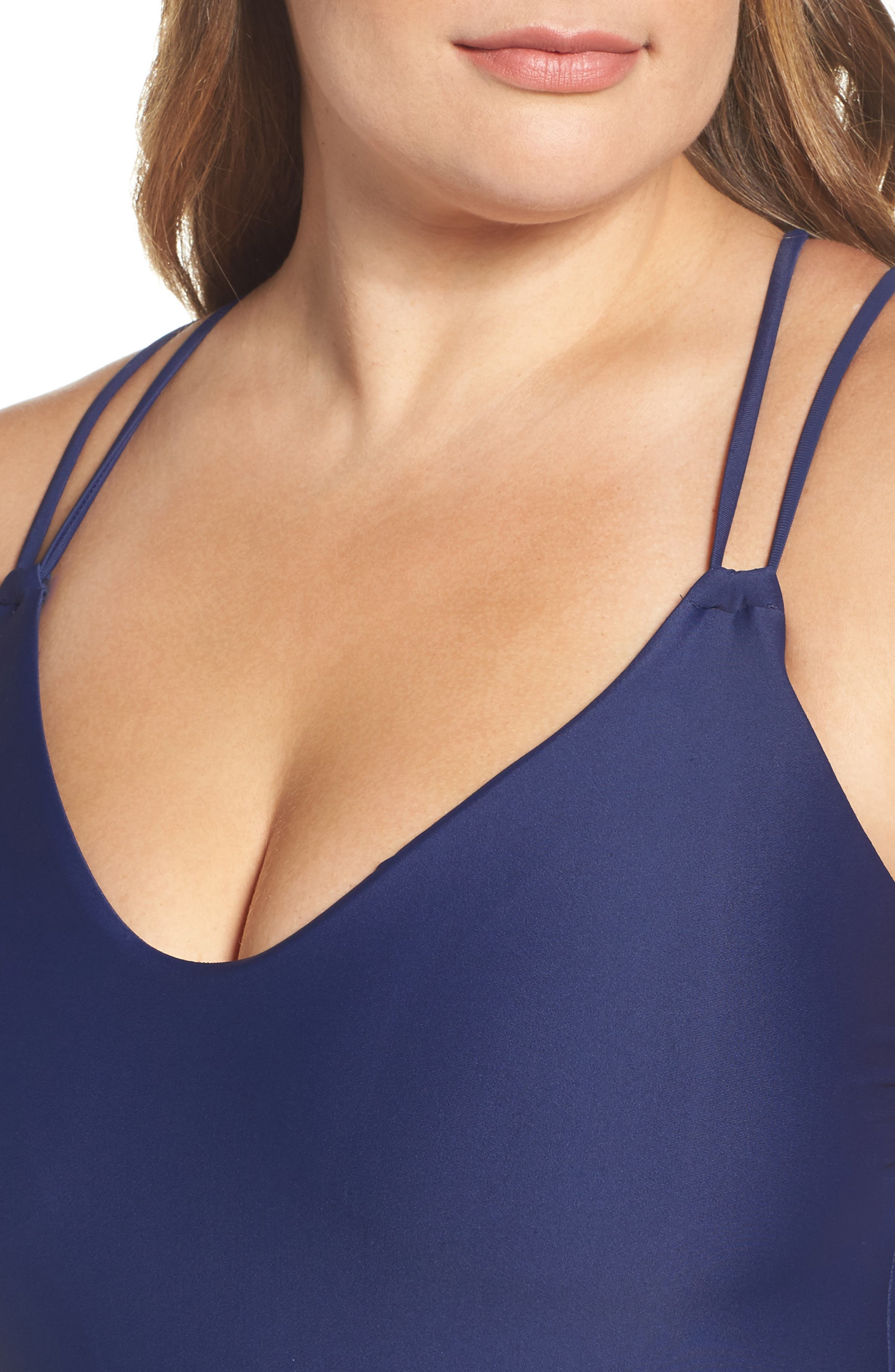 Keep It Simple One-Piece Swimsuit,                             Alternate thumbnail 4, color,                             Navy