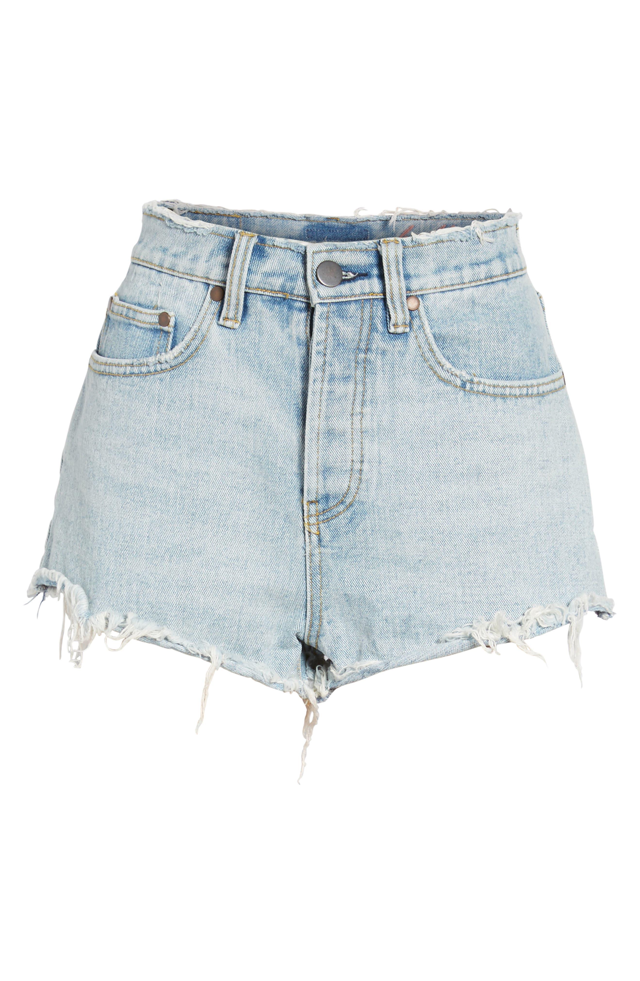 Denim Shorts,                             Alternate thumbnail 6, color,                             Sea Wash