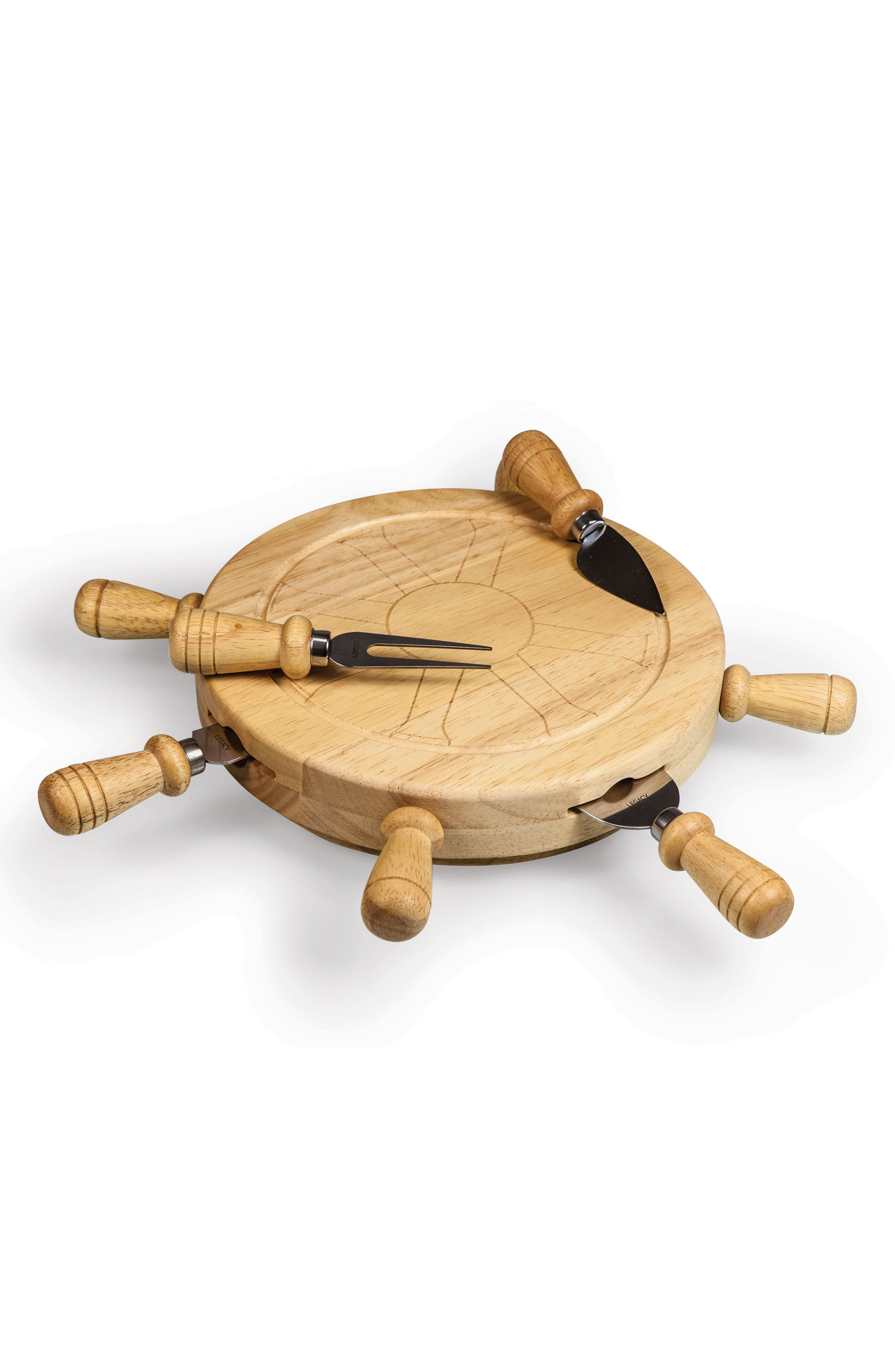 Alternate Image 1 Selected - Picnic Time Mariner Ship Wheel Cutting Board & Cheese Tools