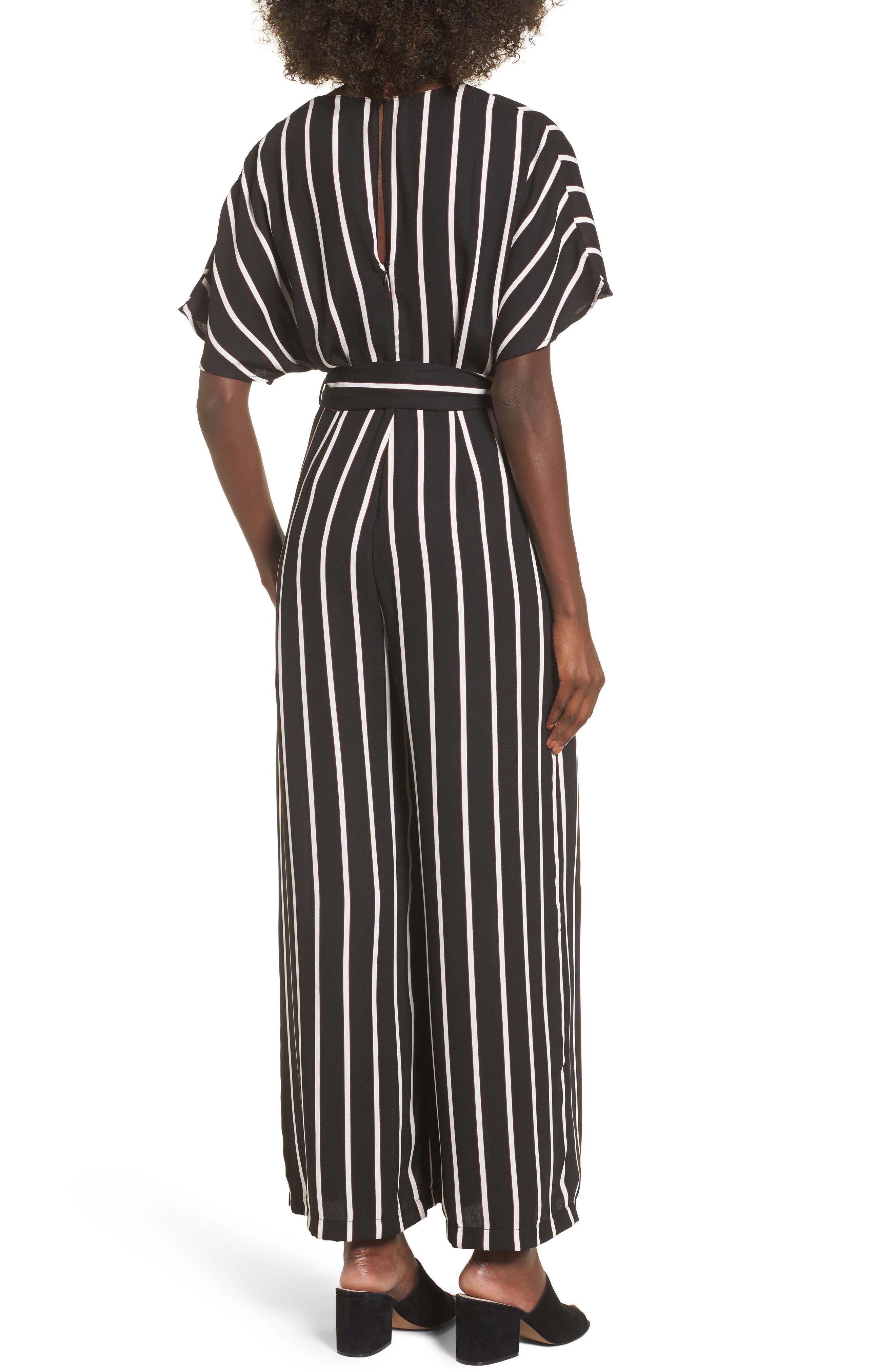 Tie Waist Wide Leg Jumpsuit,                             Alternate thumbnail 2, color,                             Black Burgundy Stripes