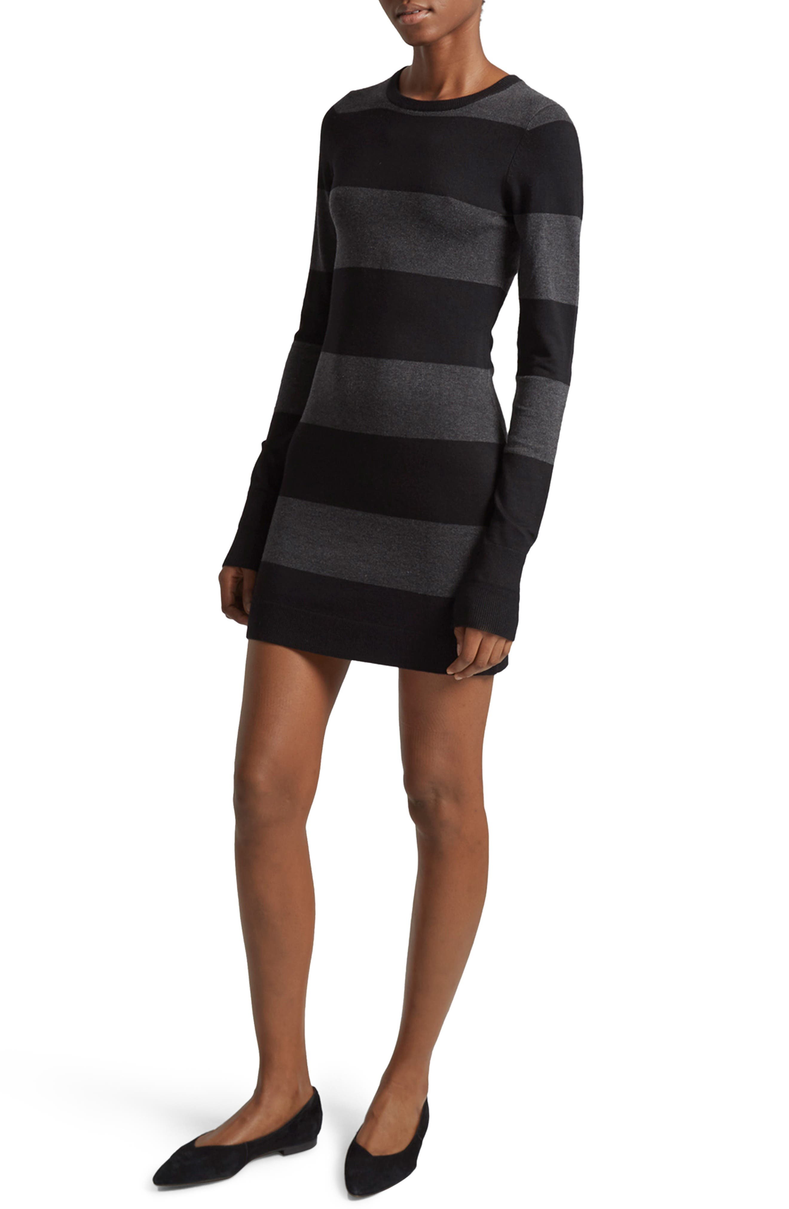 Rugby Stripe T-Shirt Dress,                         Main,                         color, Charcoal/ Black