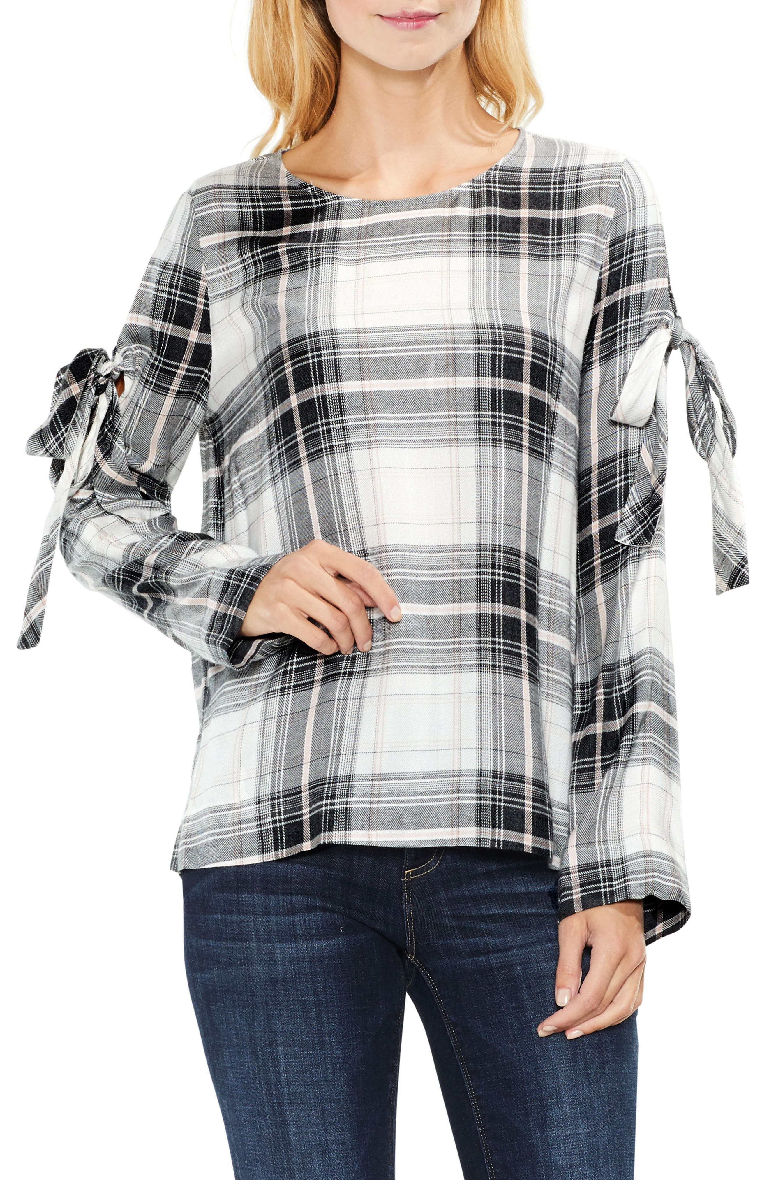 Main Image - Two by Vince Camuto Linearscape Plaid Tie Sleeve Blouse