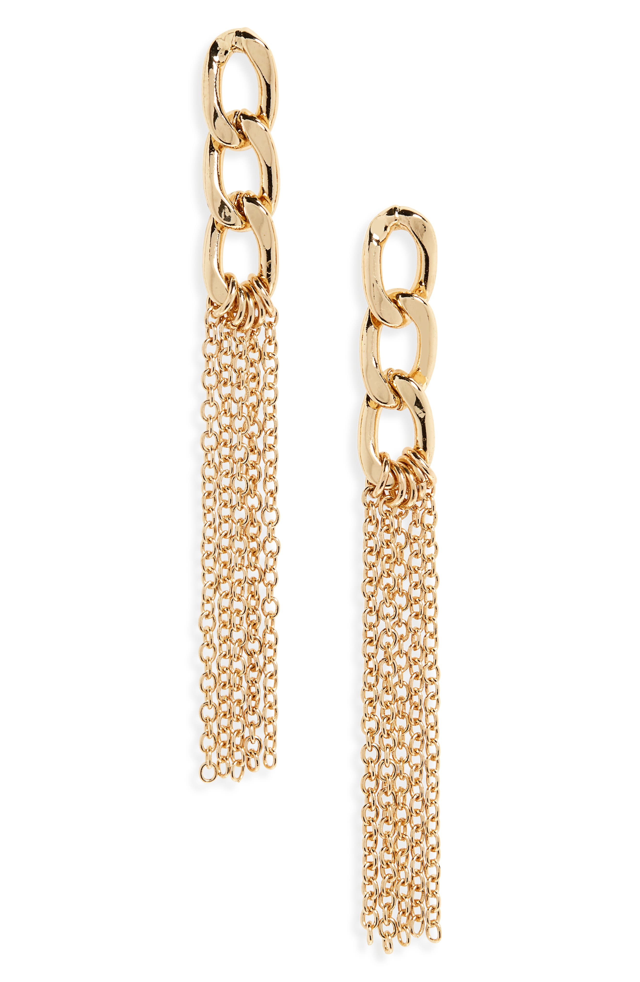 Chain Fringe Drop Earrings,                             Main thumbnail 1, color,                             Gold