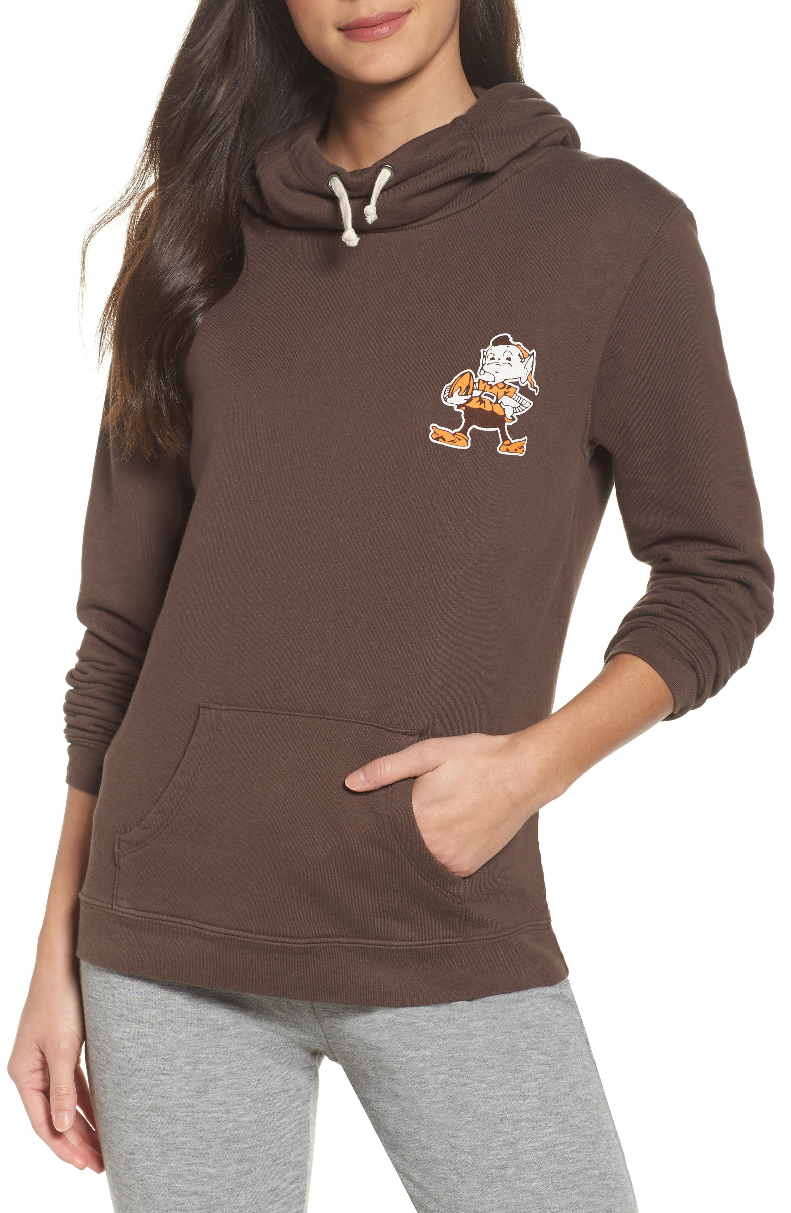 NFL Cleveland Browns Sunday Hoodie,                         Main,                         color, Dark Chocolate