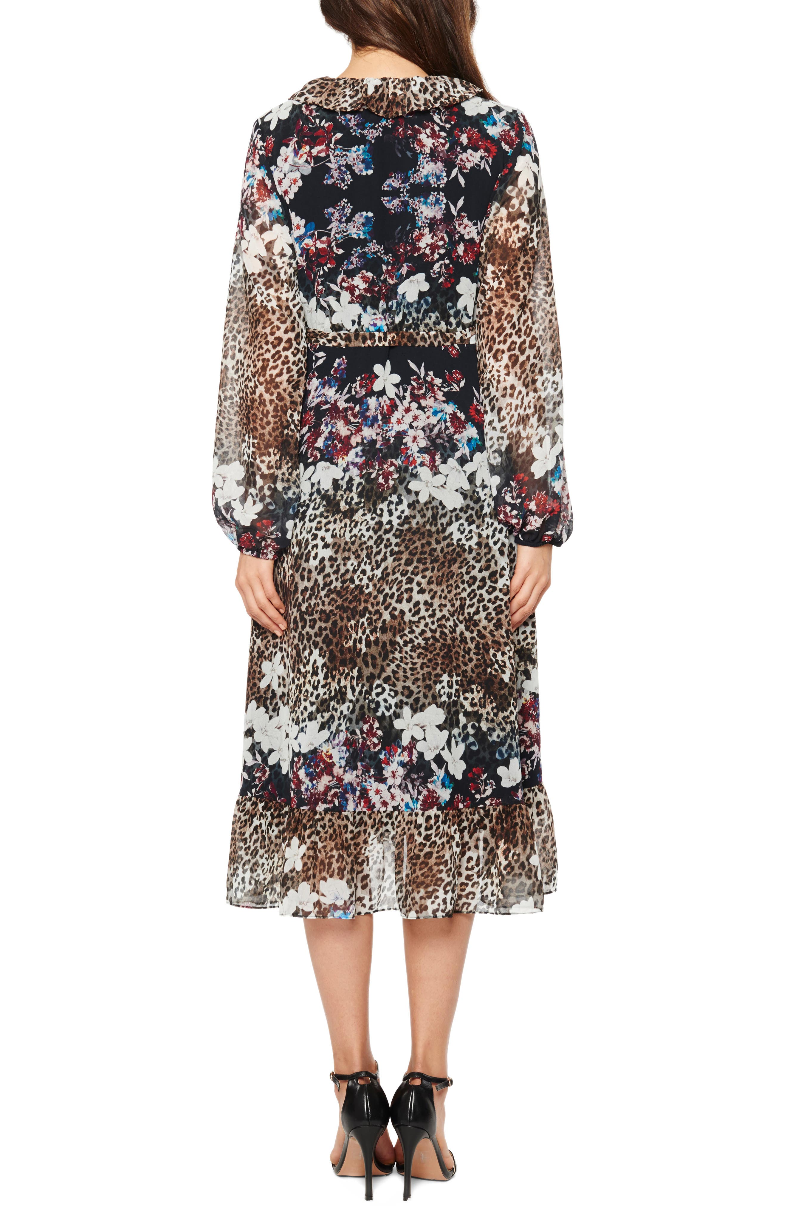 Alternate Image 2  - Willow & Clay Animal Print Floral Wrap Dress