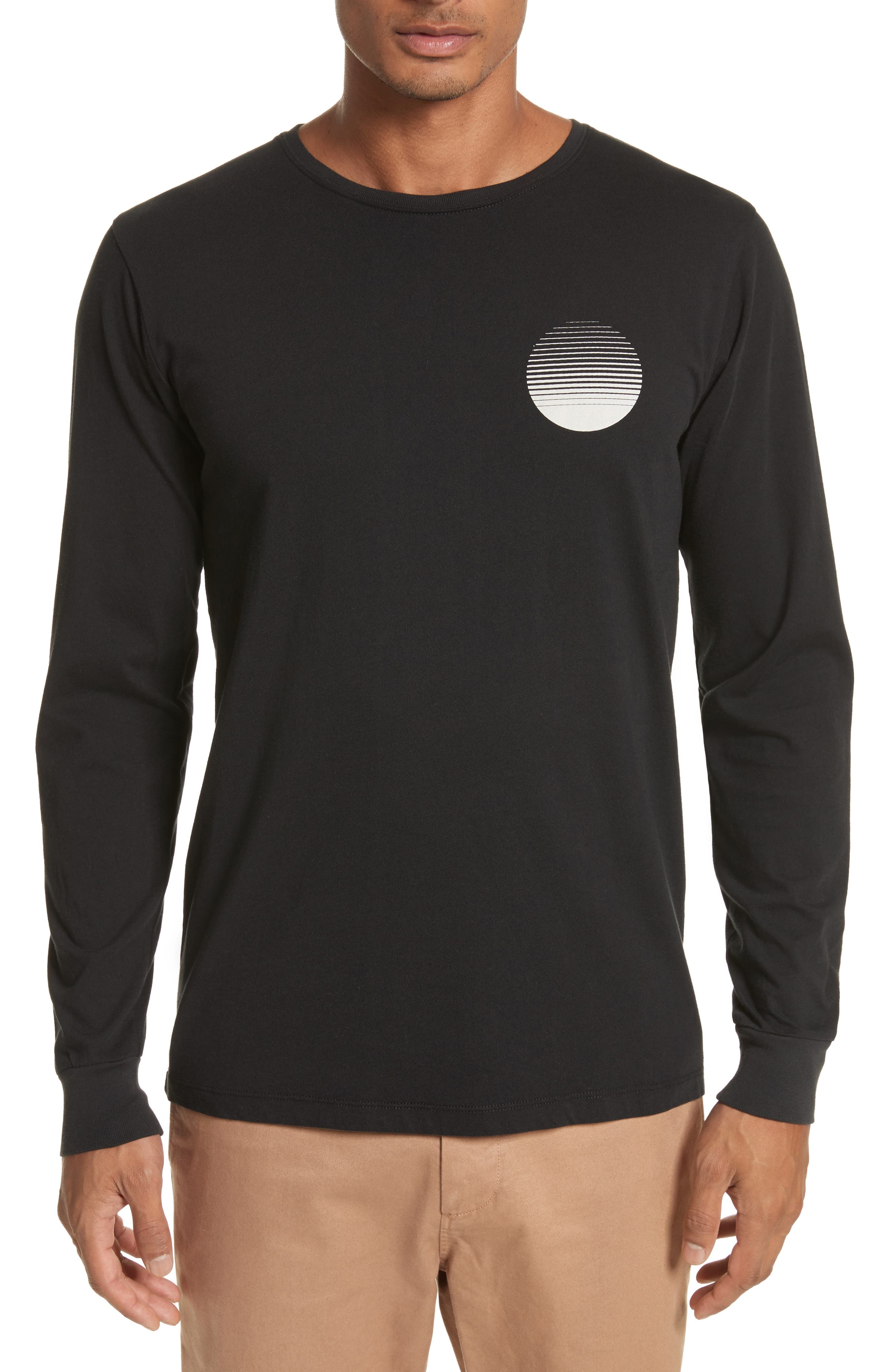 Sunset Graphic Long Sleeve T-Shirt,                         Main,                         color, Black