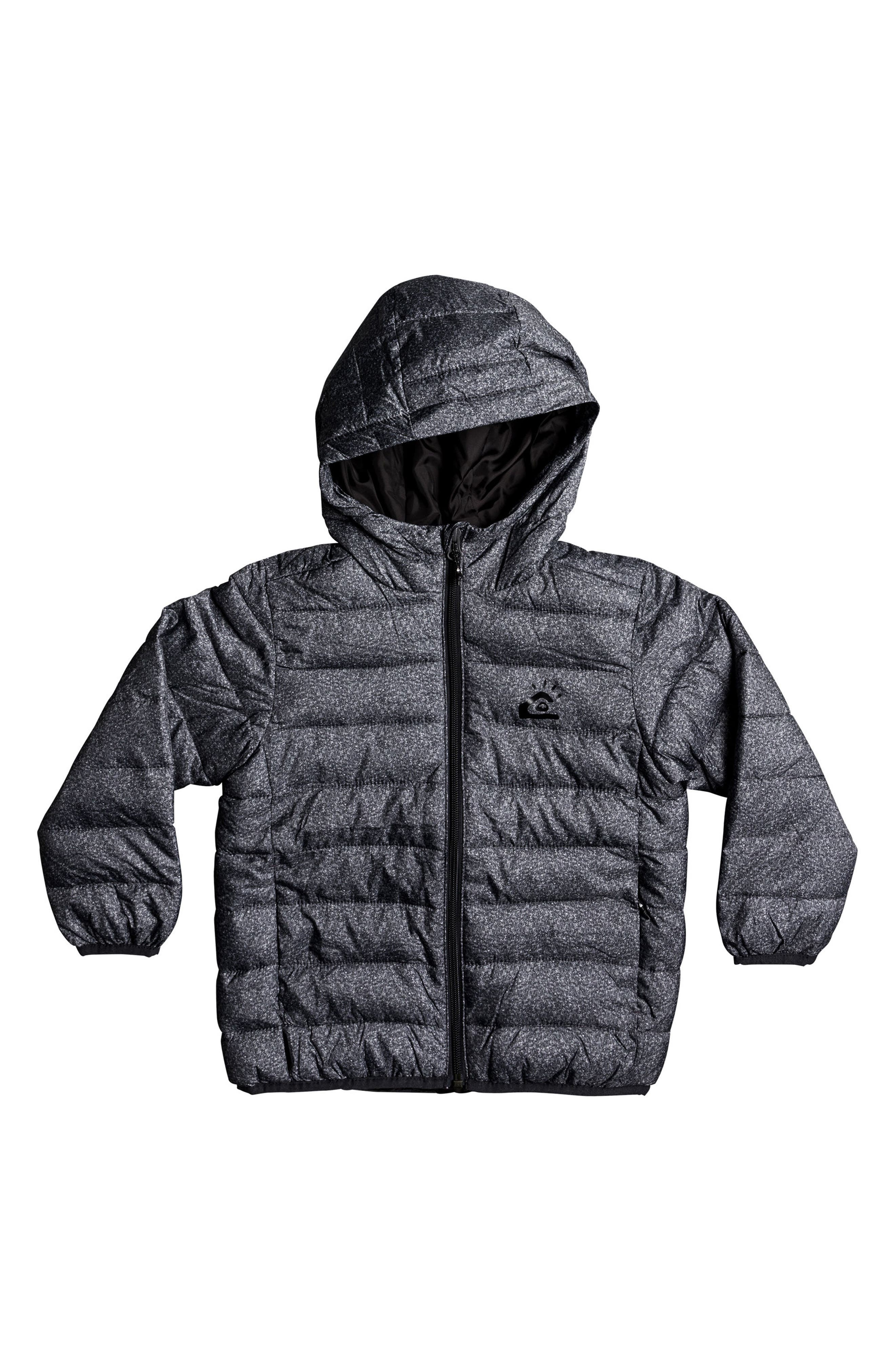 Quicksilver Scaly Water-Resistant Hooded Puffer Jacket,                         Main,                         color, Dark Grey Scaly