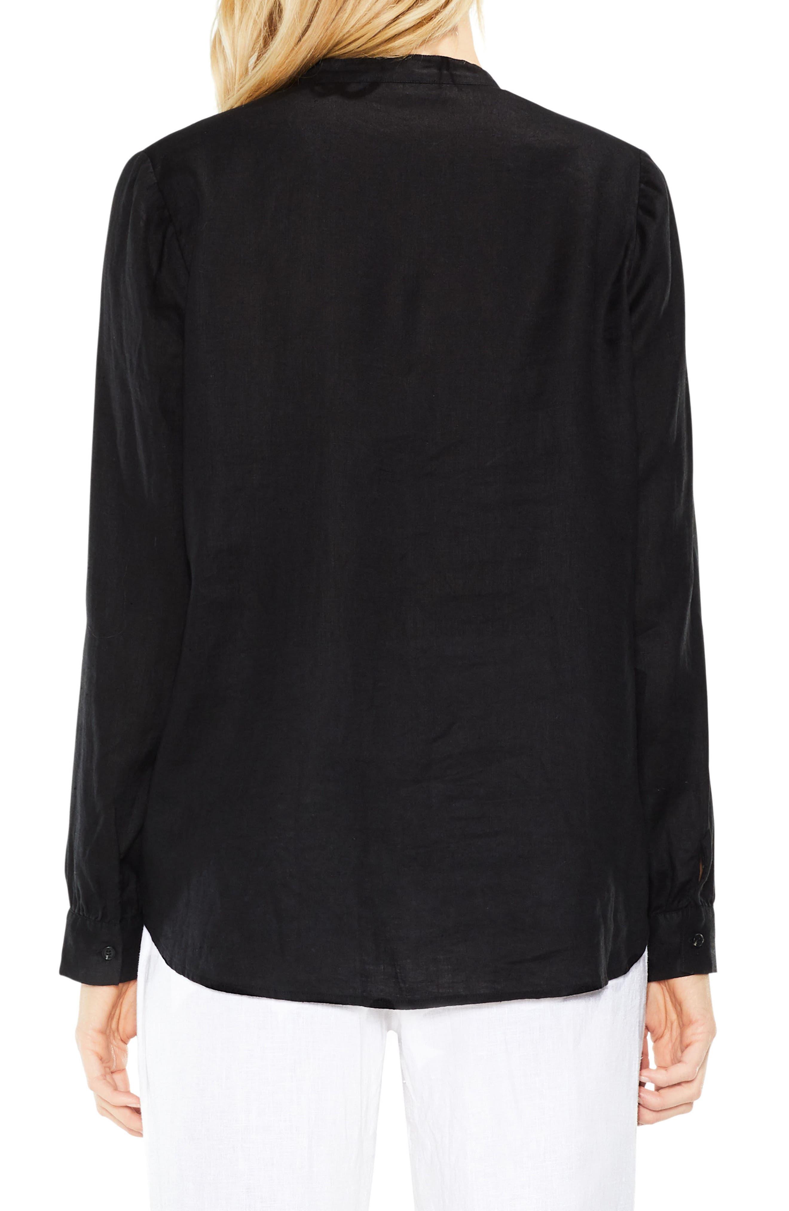 Split Neck Linen Blouse,                             Alternate thumbnail 2, color,                             Rich Black