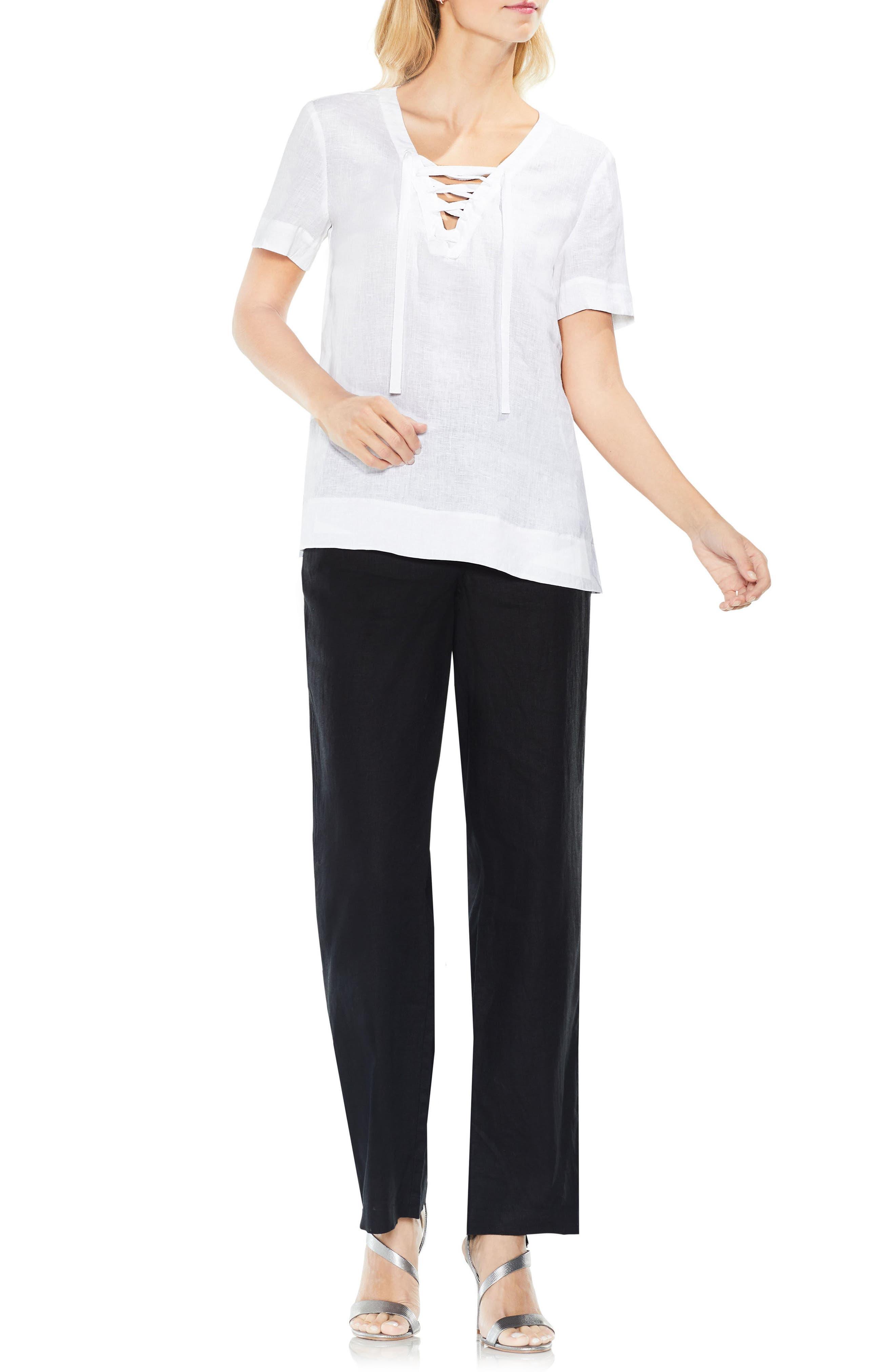 Lace-Up Linen Blouse,                             Alternate thumbnail 2, color,                             Ultra White