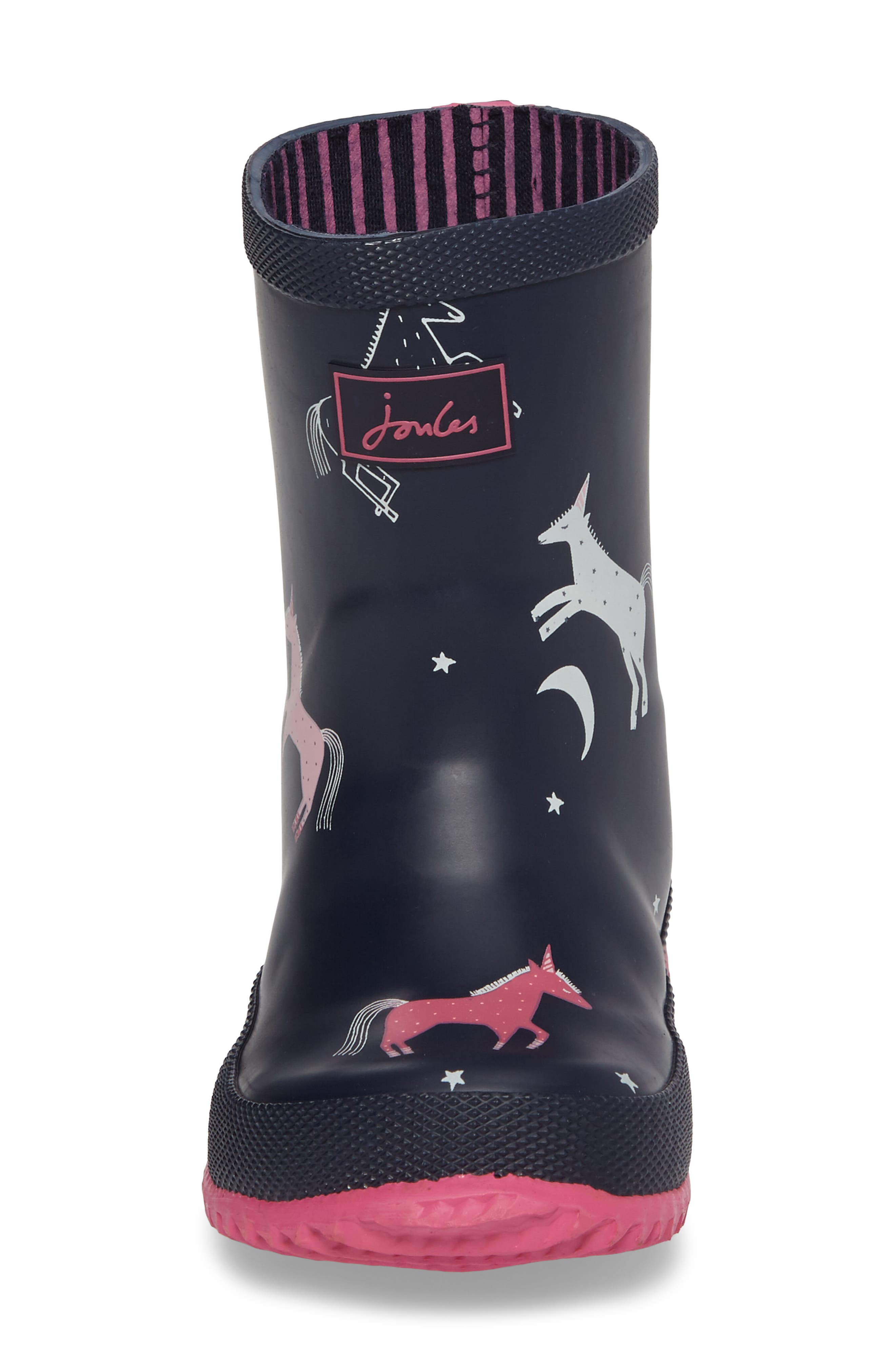 Printed Waterproof Rain Boot,                             Alternate thumbnail 4, color,                             French Navy Unicorns