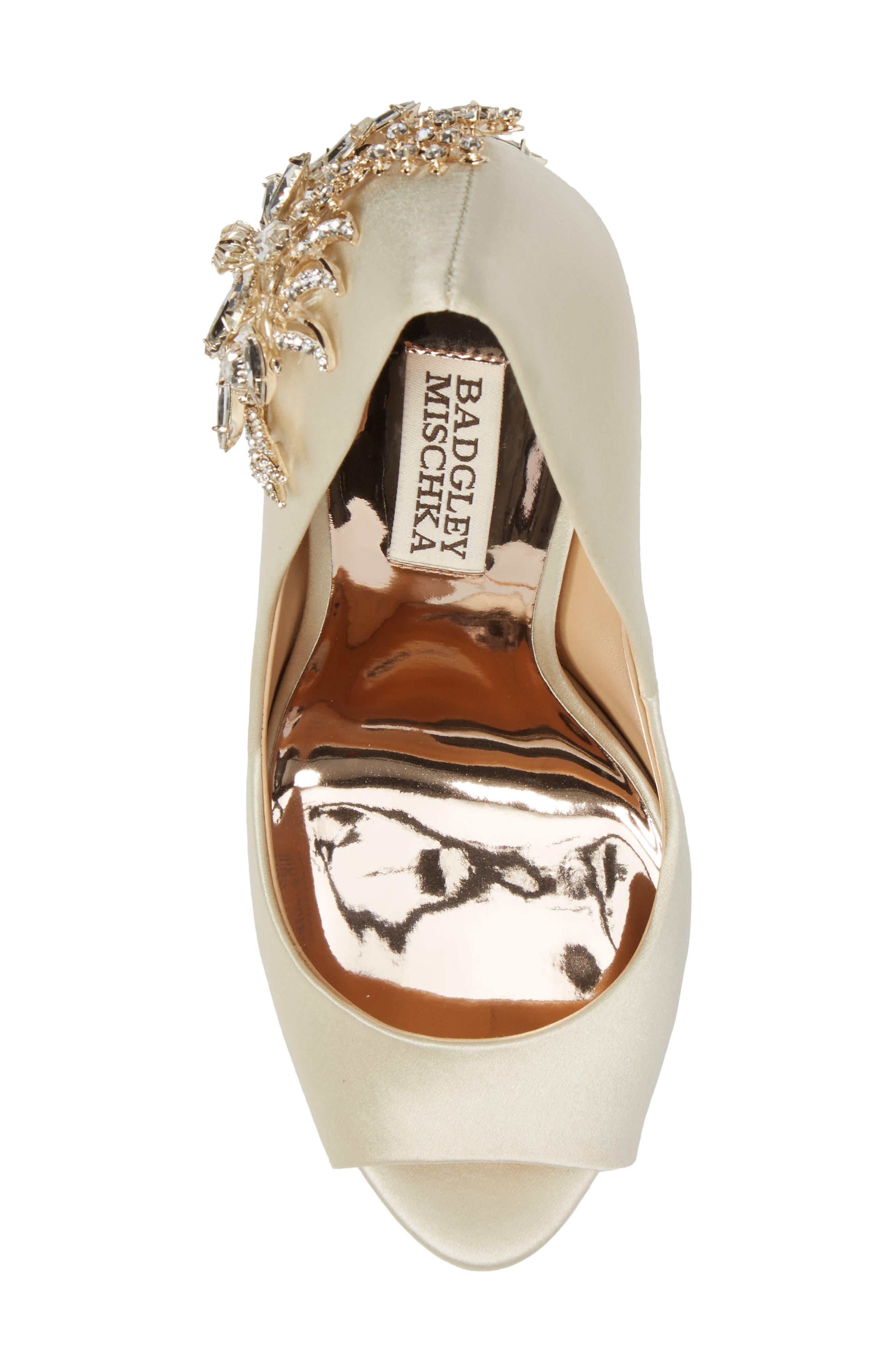 Marcia Embellished Peep Toe Pump,                             Alternate thumbnail 5, color,                             Ivory Satin