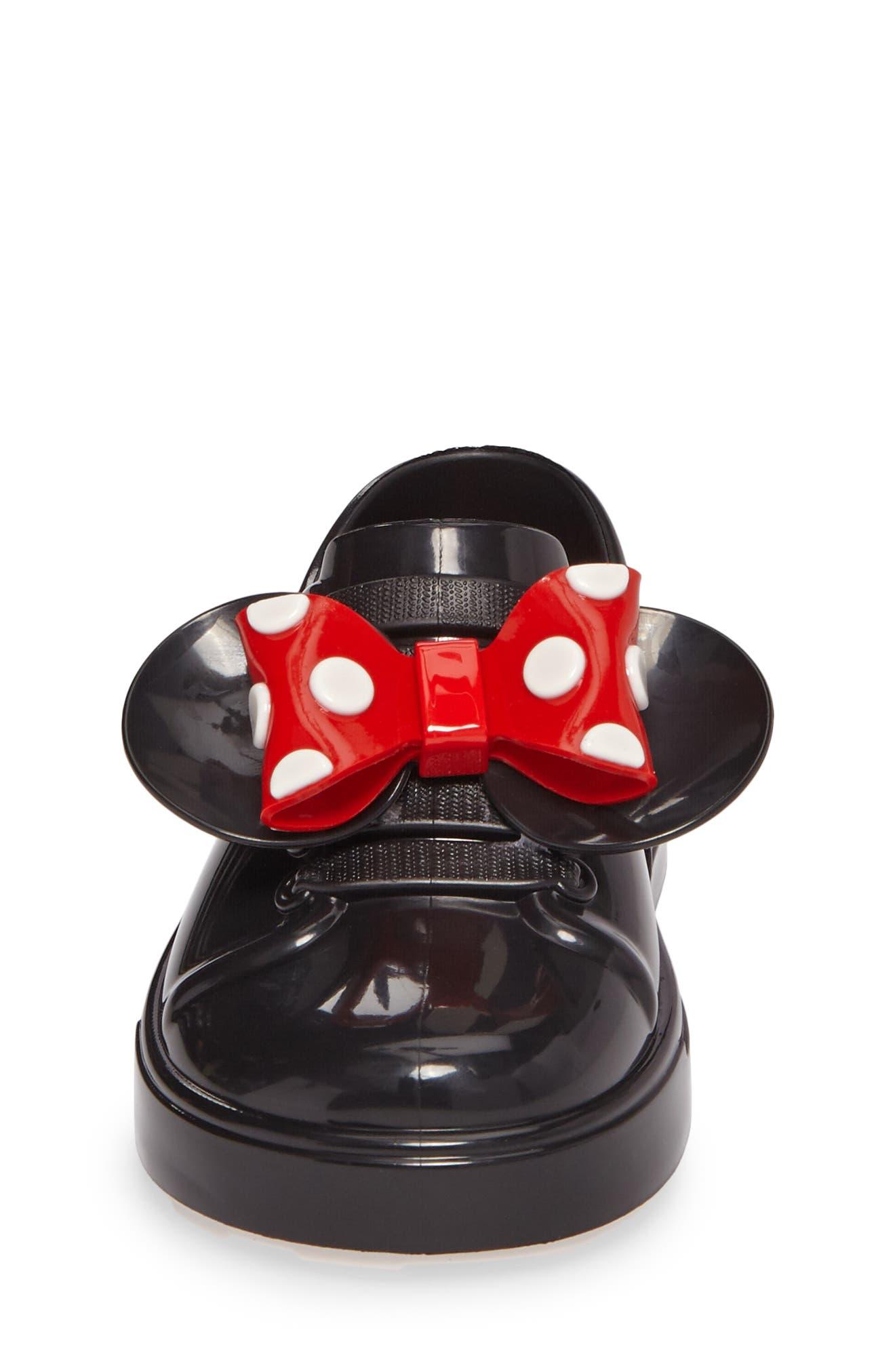 Mini Melissa Disney<sup>®</sup> Be Minnie Slip-On Sneaker,                             Alternate thumbnail 4, color,                             Black Glossy