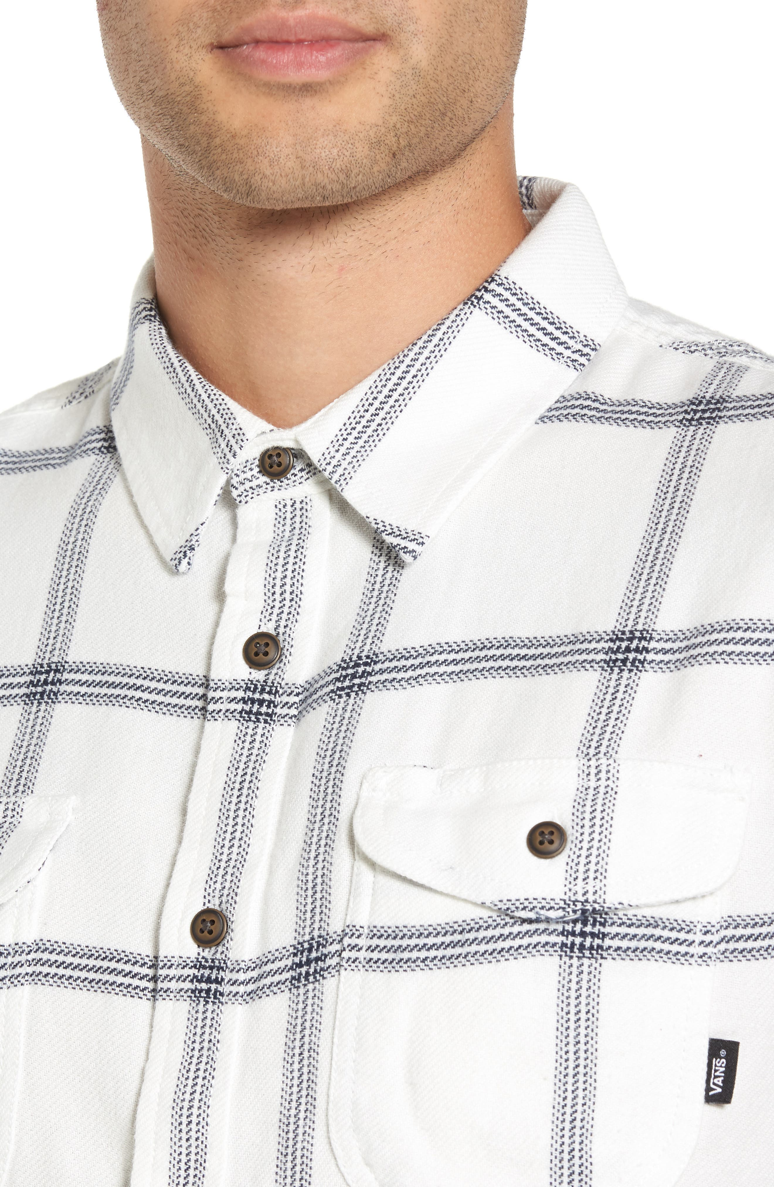 Wayland II Flannel Sport Shirt,                             Alternate thumbnail 4, color,                             Marshmallow/ Dress Blues