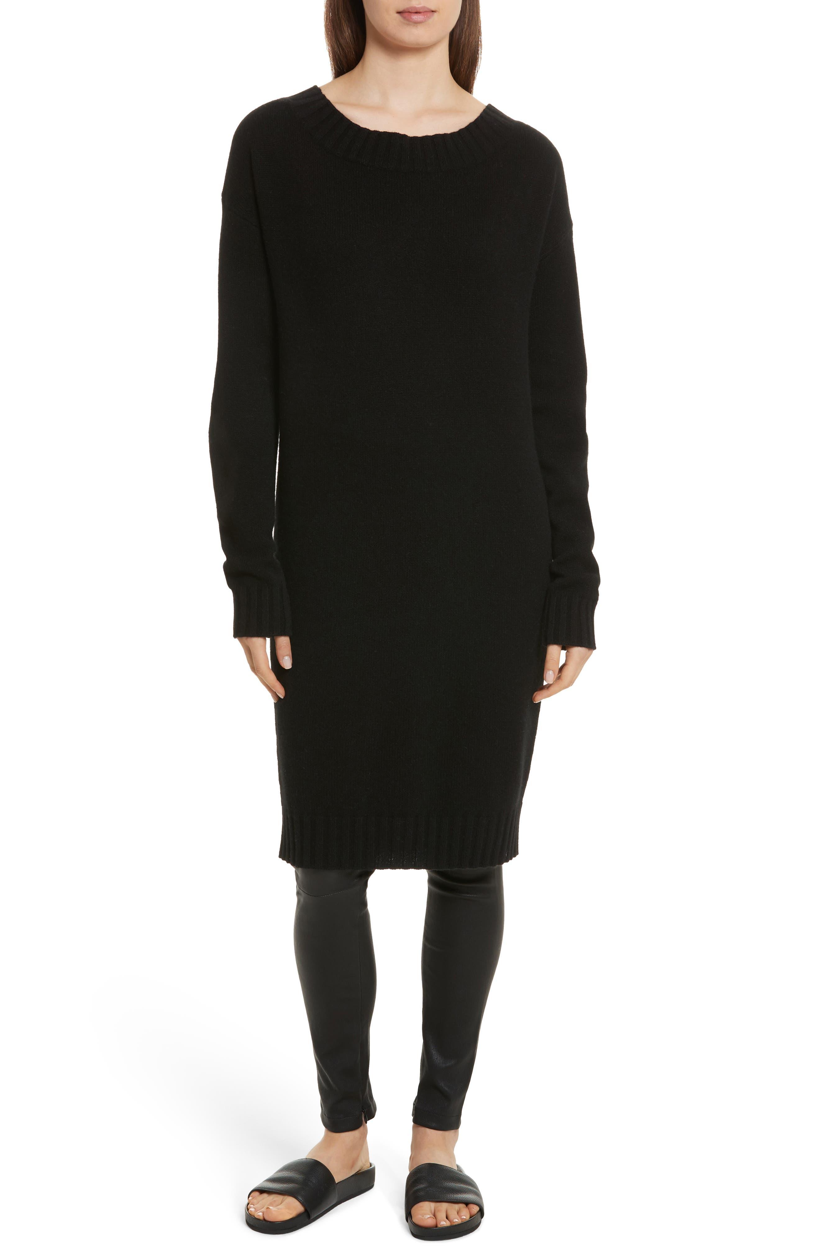 Cold Shoulder Wool & Cashmere Sweater Dress,                         Main,                         color, Black