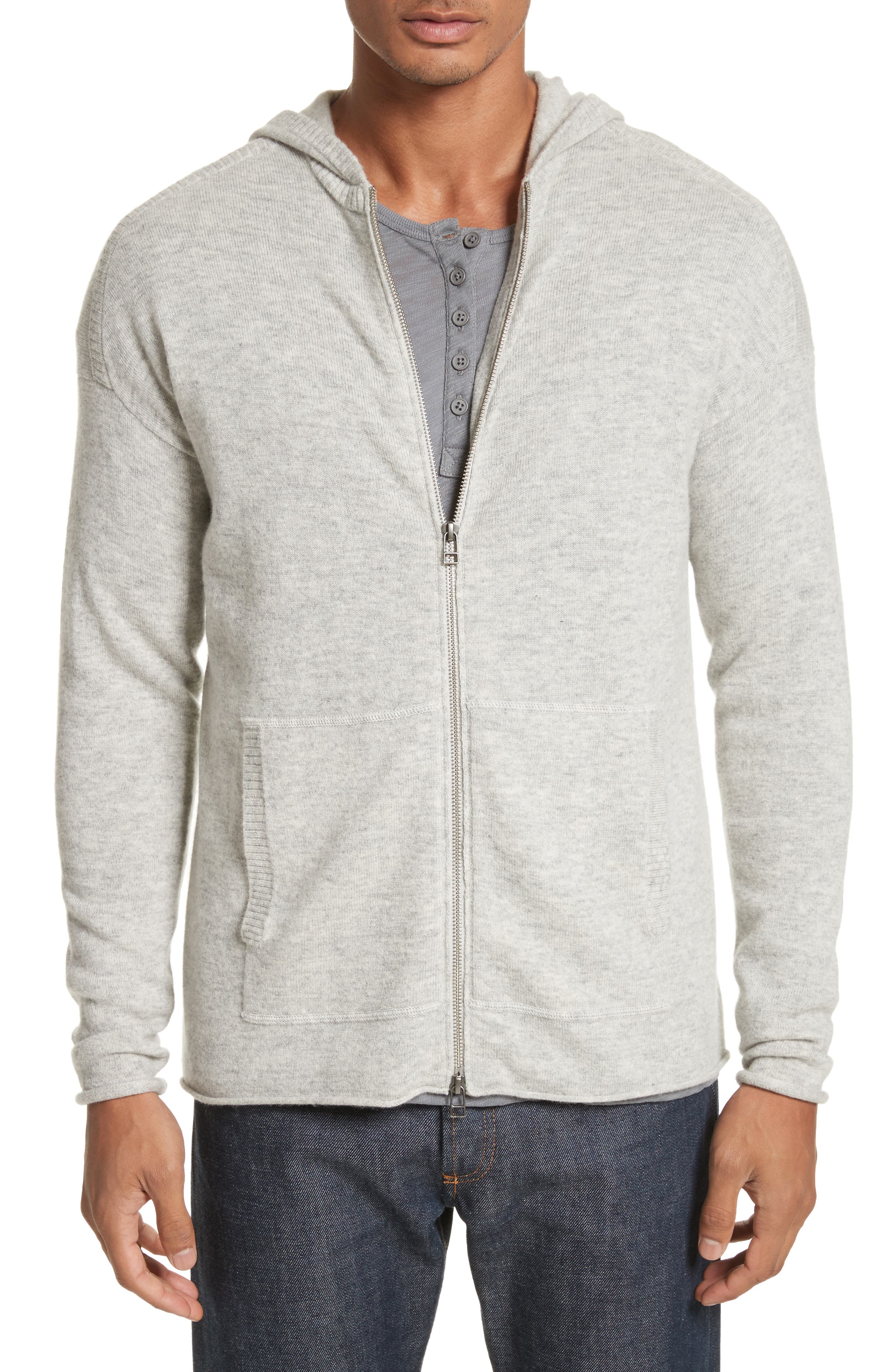 Wool & Cashmere Zip Hoodie,                         Main,                         color, Grey Oxford