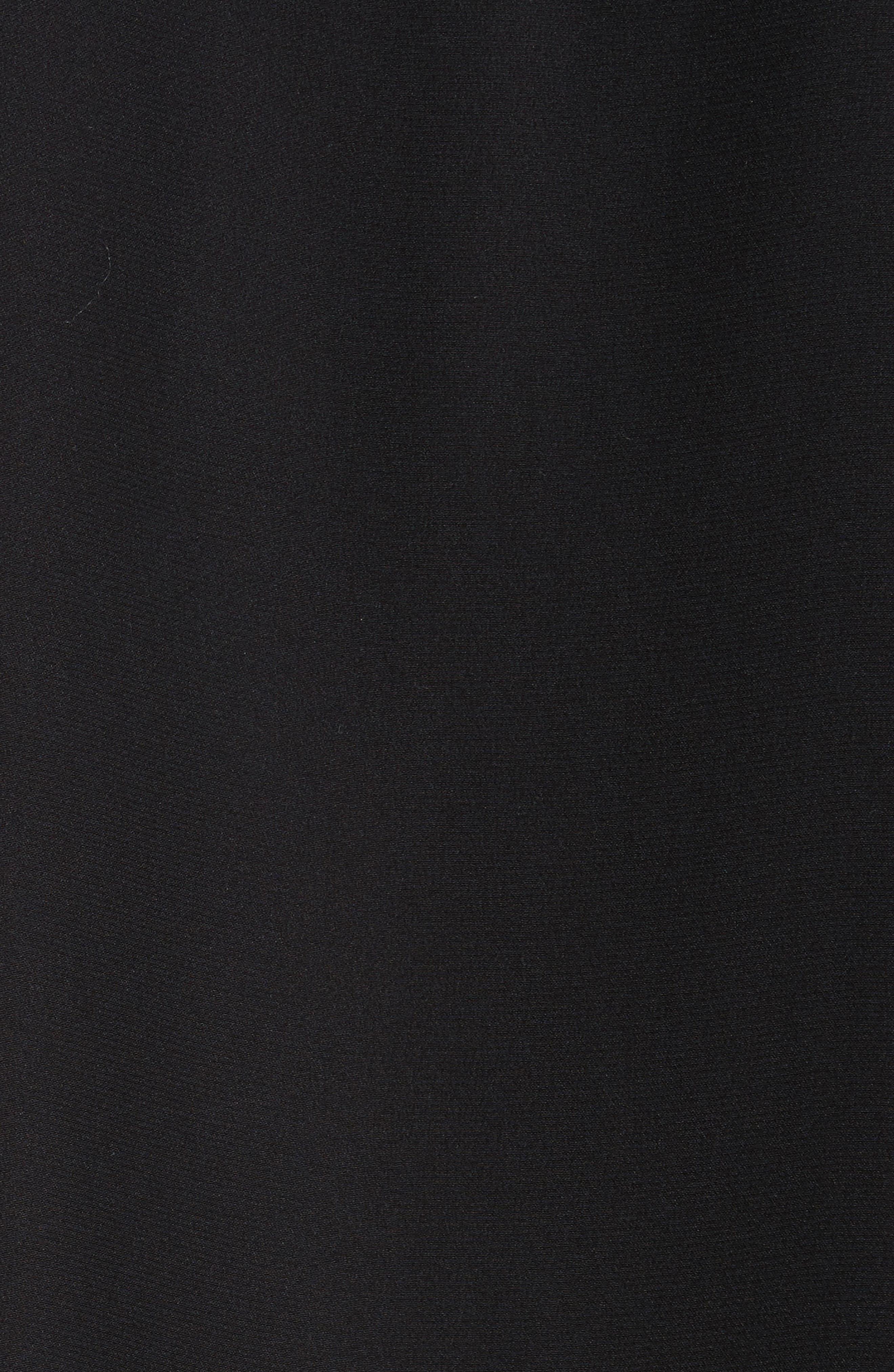Rib Trim Silk Top,                             Alternate thumbnail 5, color,                             Black