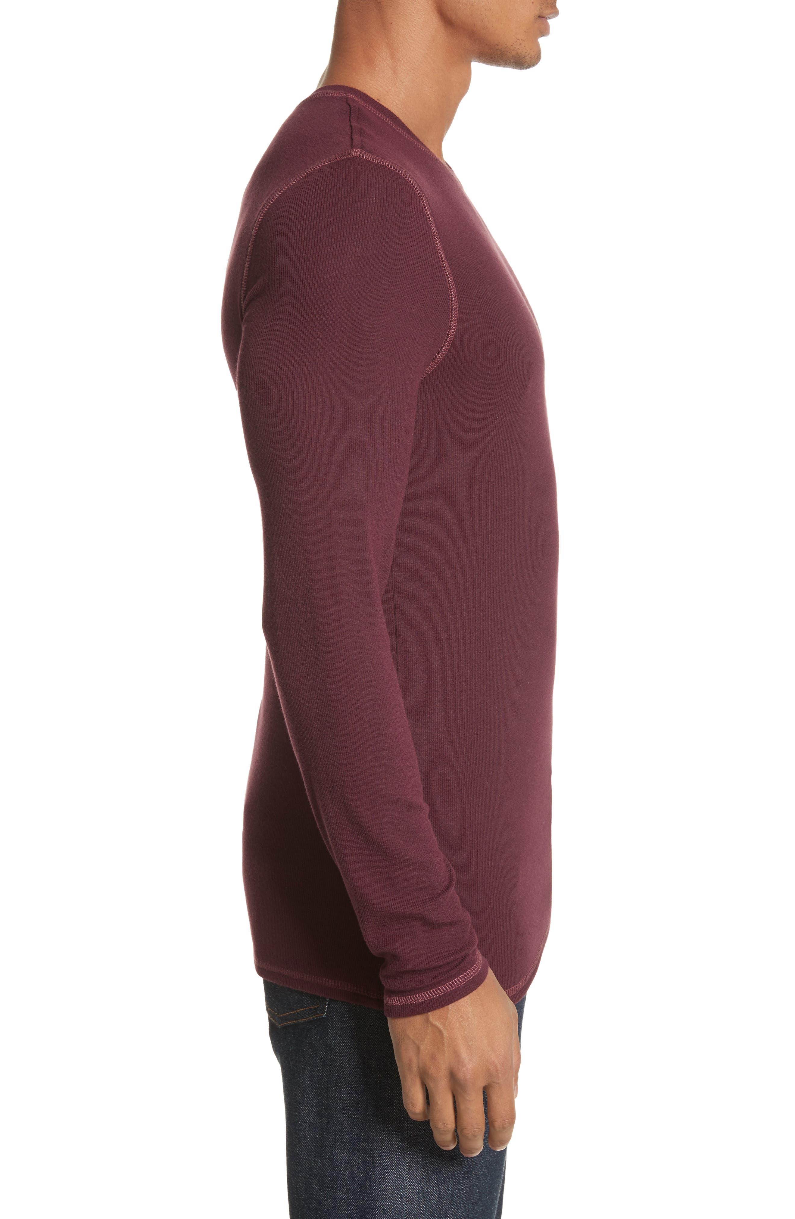 Rib Modal Crewneck Sweater,                             Alternate thumbnail 3, color,                             Merlot
