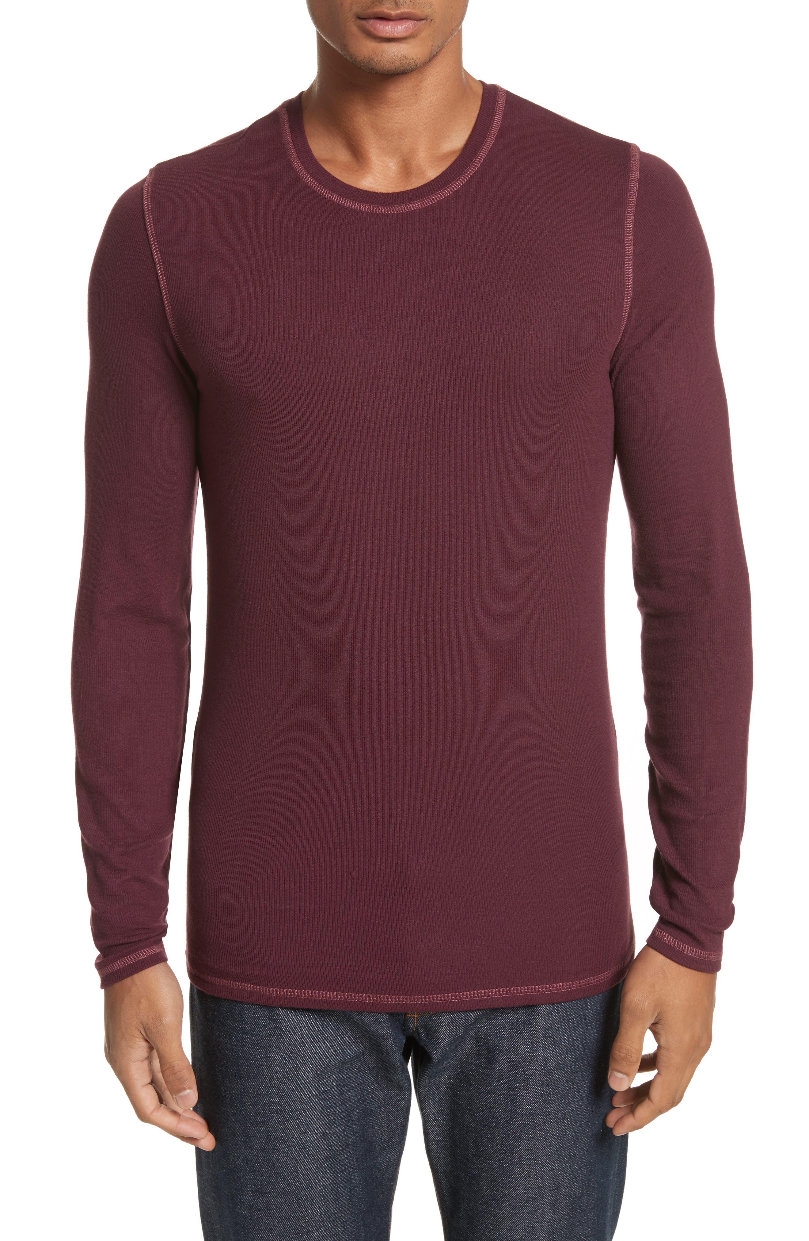 Rib Modal Crewneck Sweater,                             Main thumbnail 1, color,                             Merlot