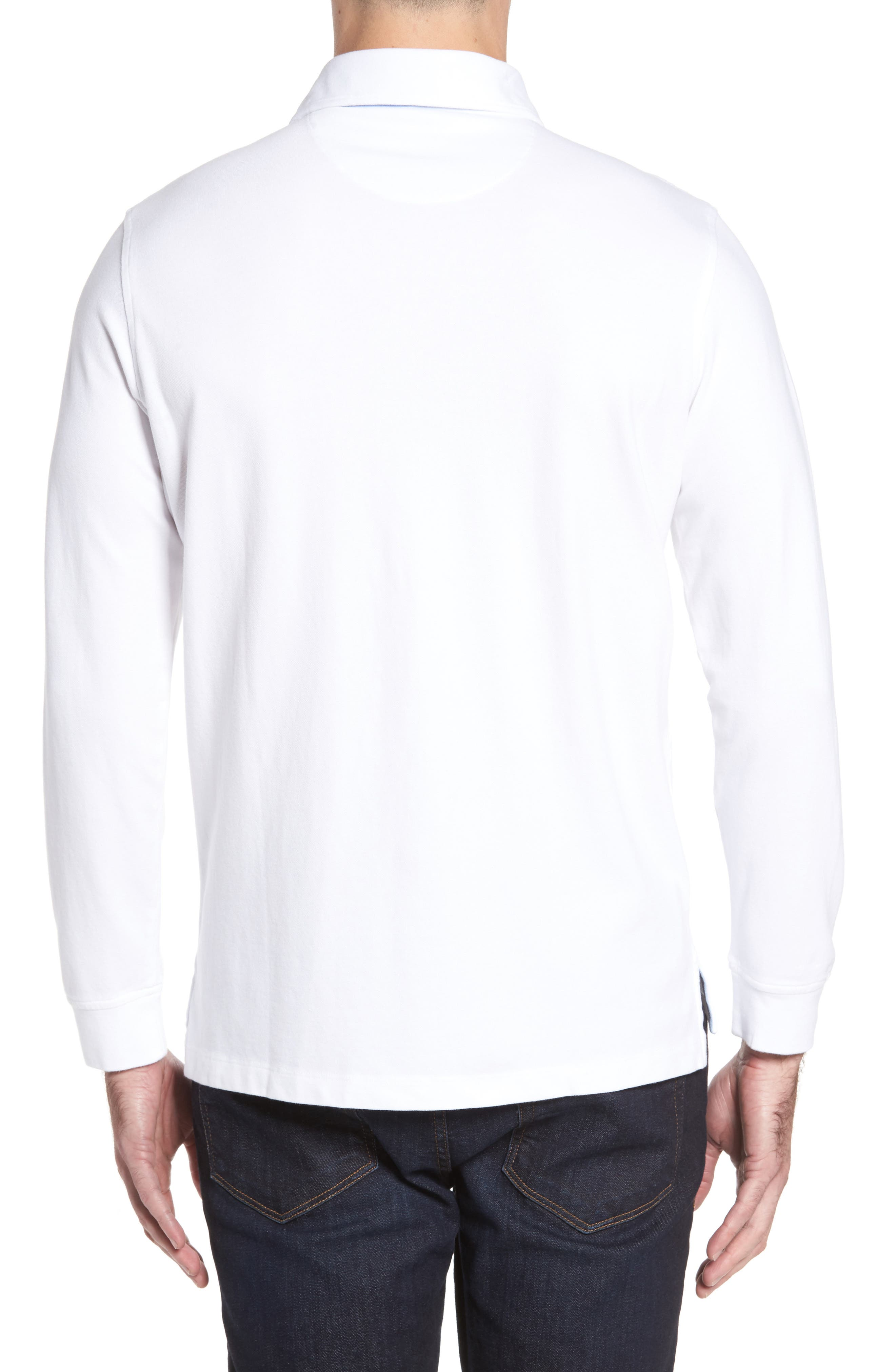 Two-Tone Piqué Knit Polo,                             Alternate thumbnail 2, color,                             Pure White